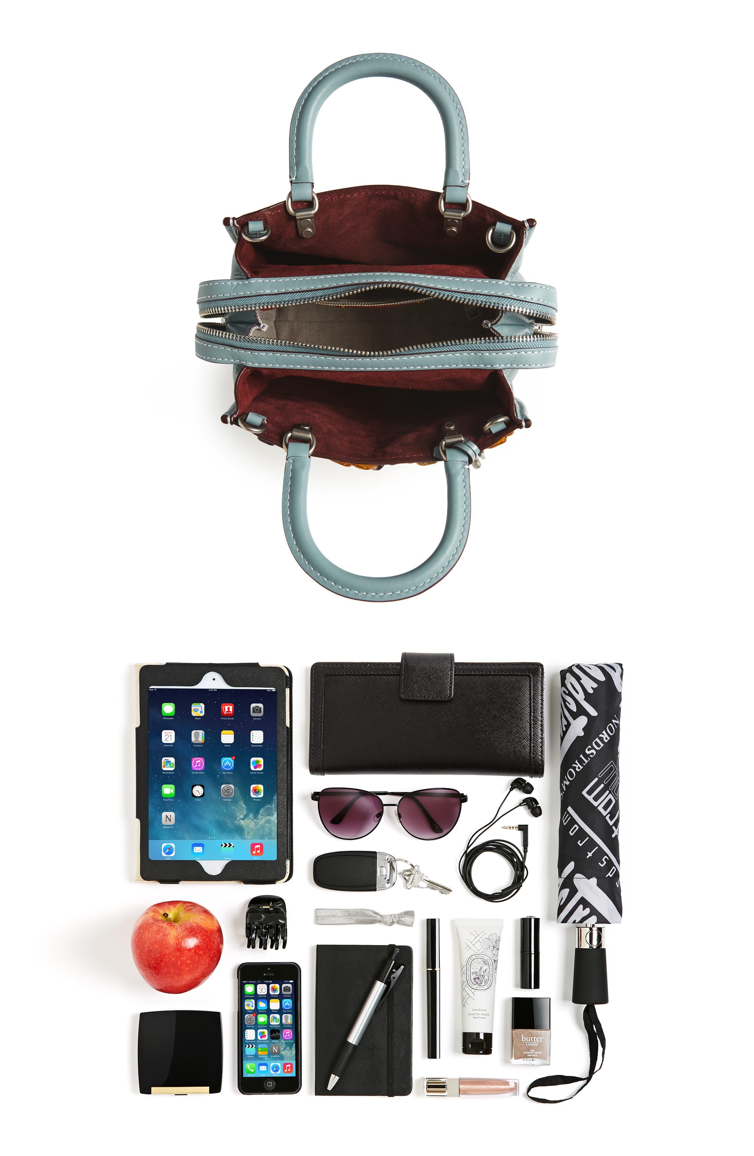 Rogue 25 Tea Rose Appliqué Leather Crossbody Bag,                             Alternate thumbnail 7, color,