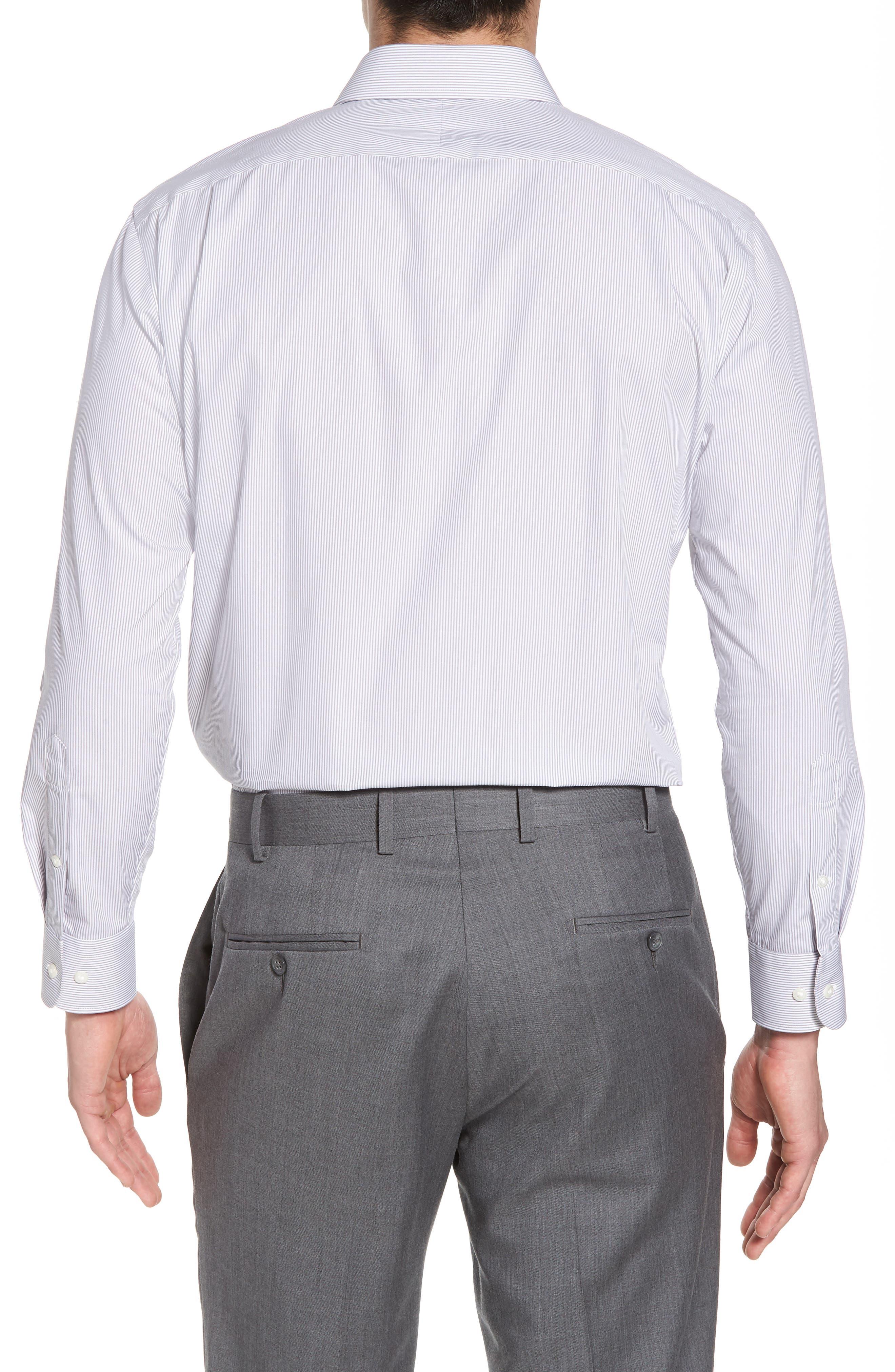 Trim Fit Non-Iron Stripe Dress Shirt,                             Alternate thumbnail 13, color,