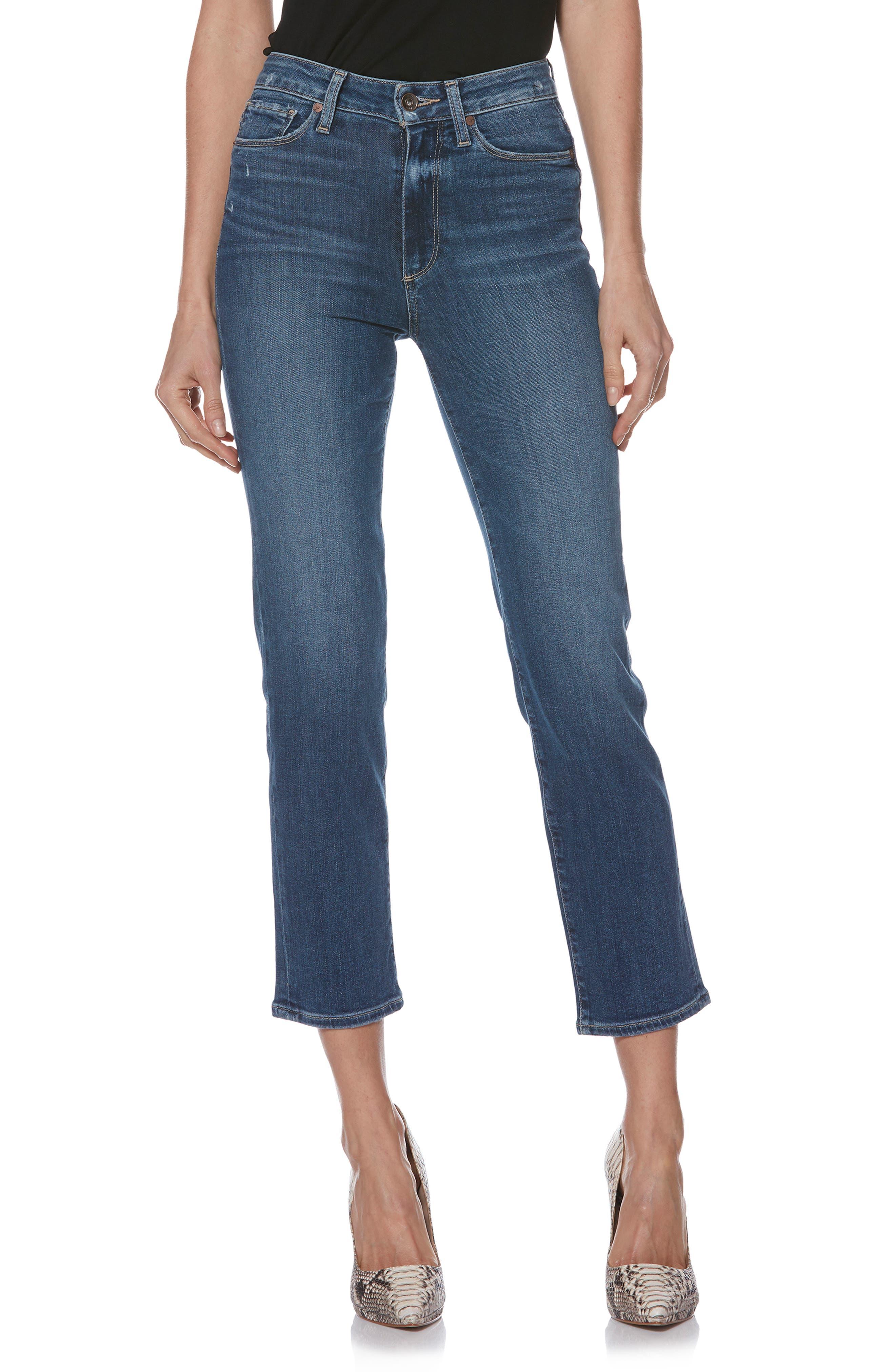Transcend Vintage - Margot High Waist Ankle Straight Leg Jeans,                             Alternate thumbnail 5, color,                             HANNIE