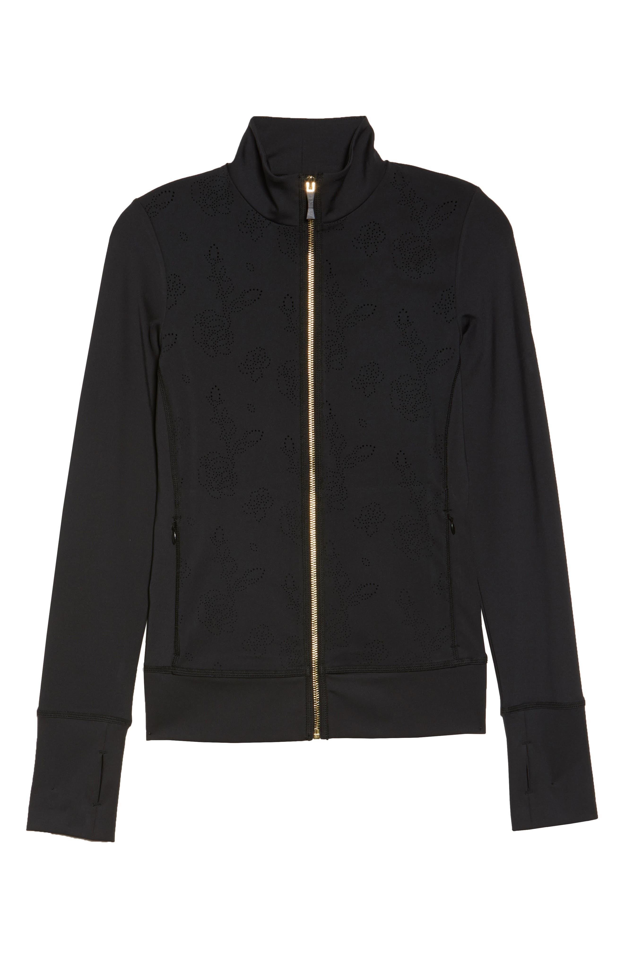 flora laser cut jacket,                             Alternate thumbnail 6, color,                             001