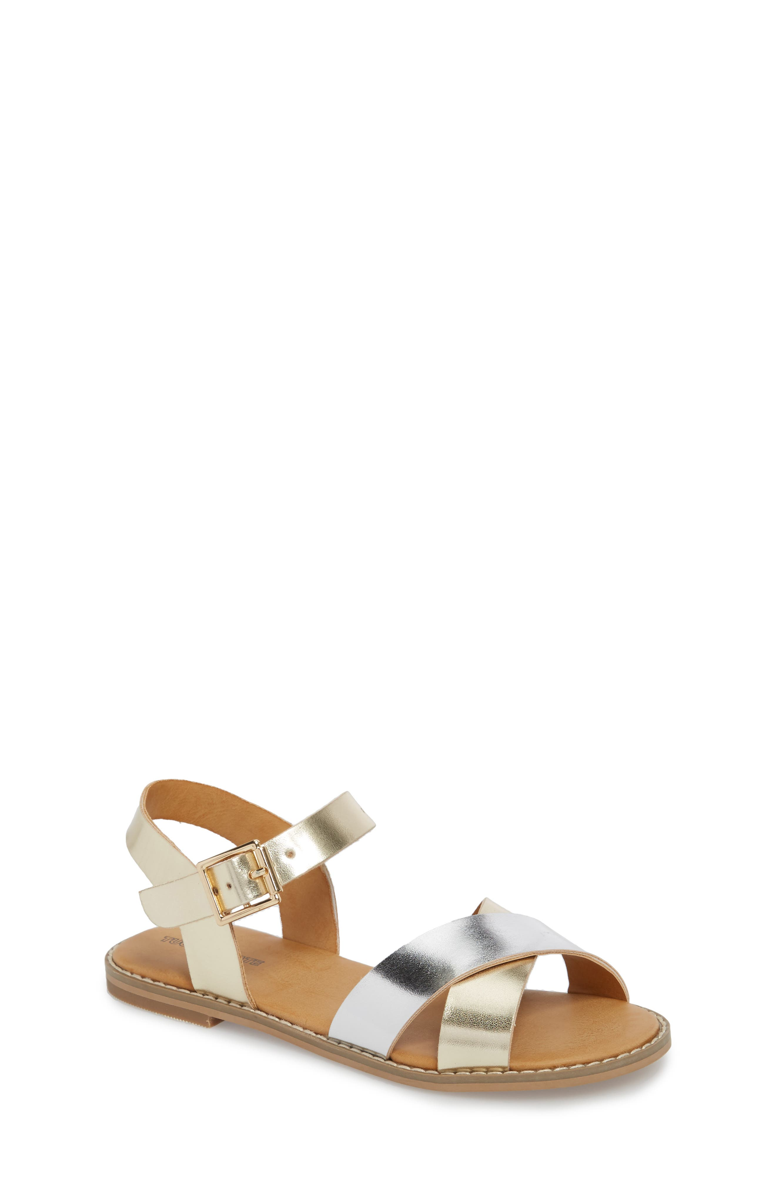 Arya Cross Strap Sandal,                         Main,                         color, SILVER FAUX LEATHER