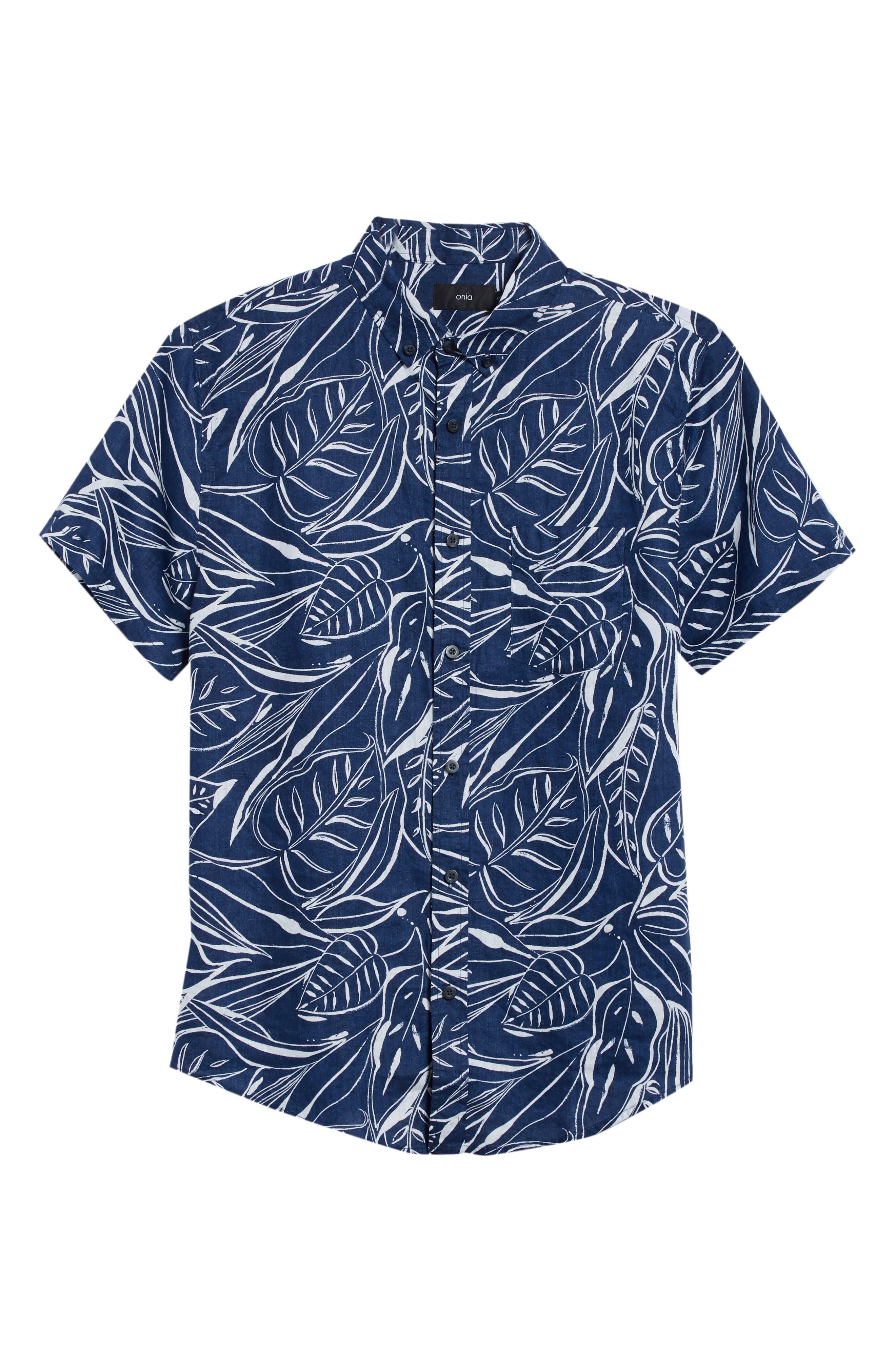 Jack Palm Print Linen Shirt,                             Alternate thumbnail 6, color,                             DEEP NAVY WHITE