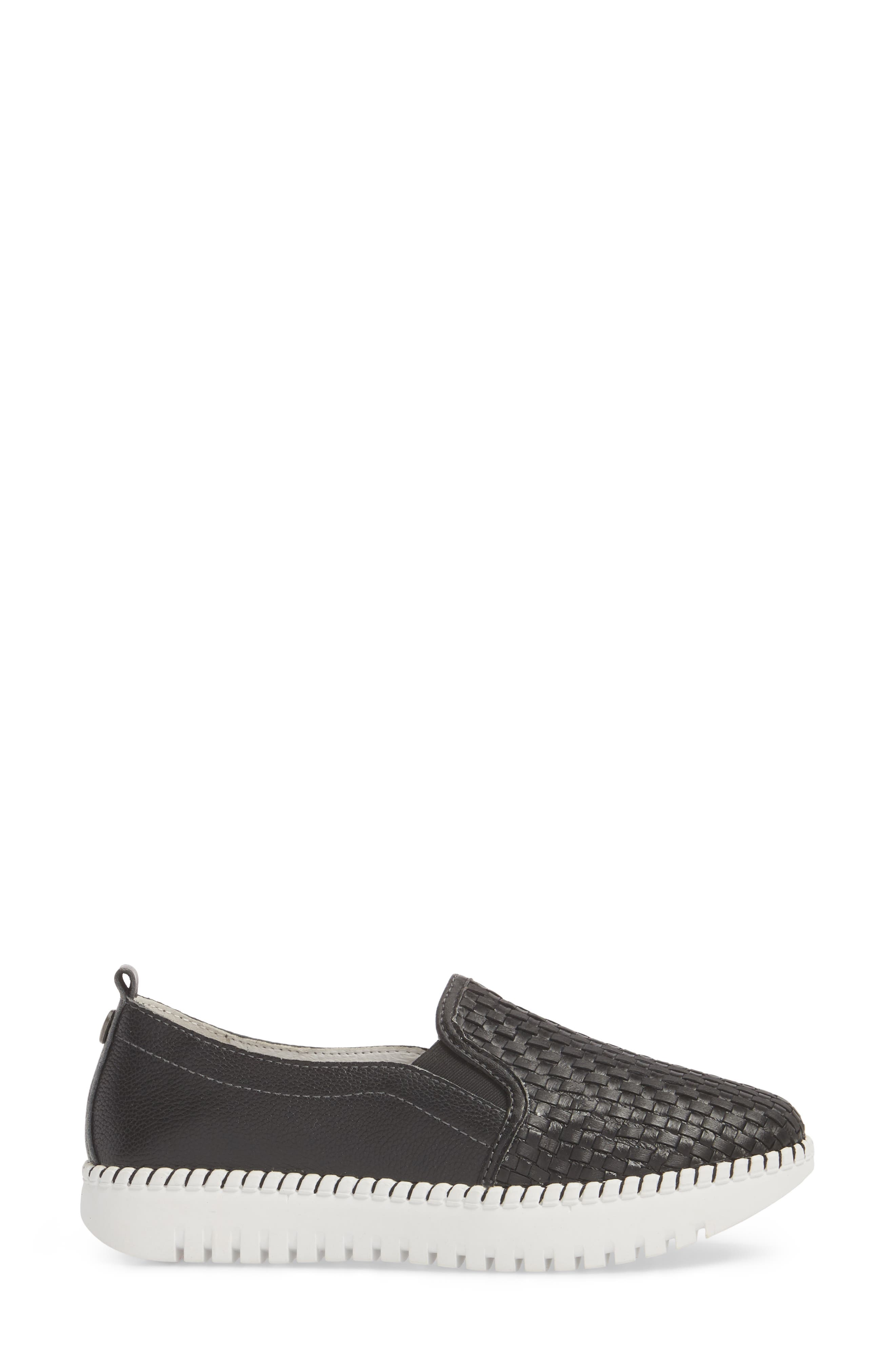 Stretch Woven Platform Sneaker,                             Alternate thumbnail 3, color,                             BLACK LEATHER