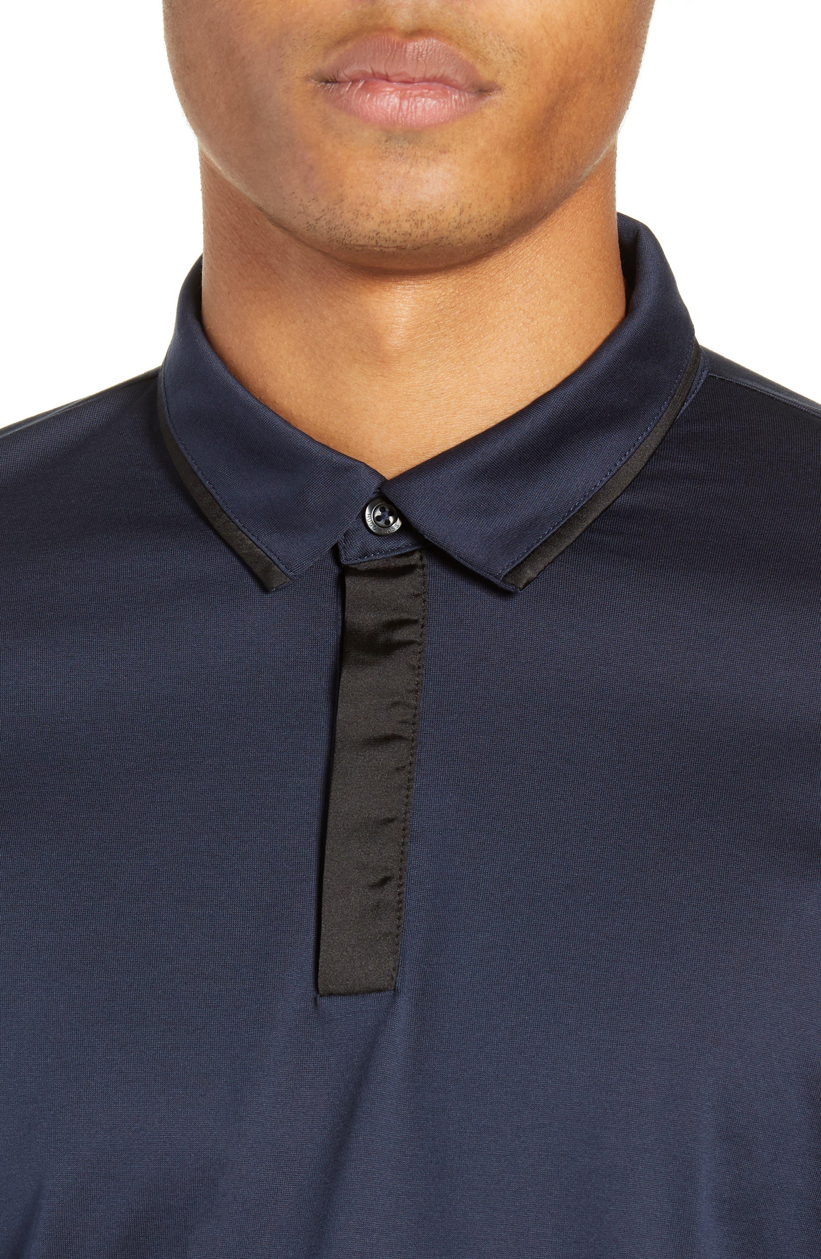 Dalendar Mercerized Cotton Slim Fit Polo Shirt,                             Alternate thumbnail 4, color,                             BLUE