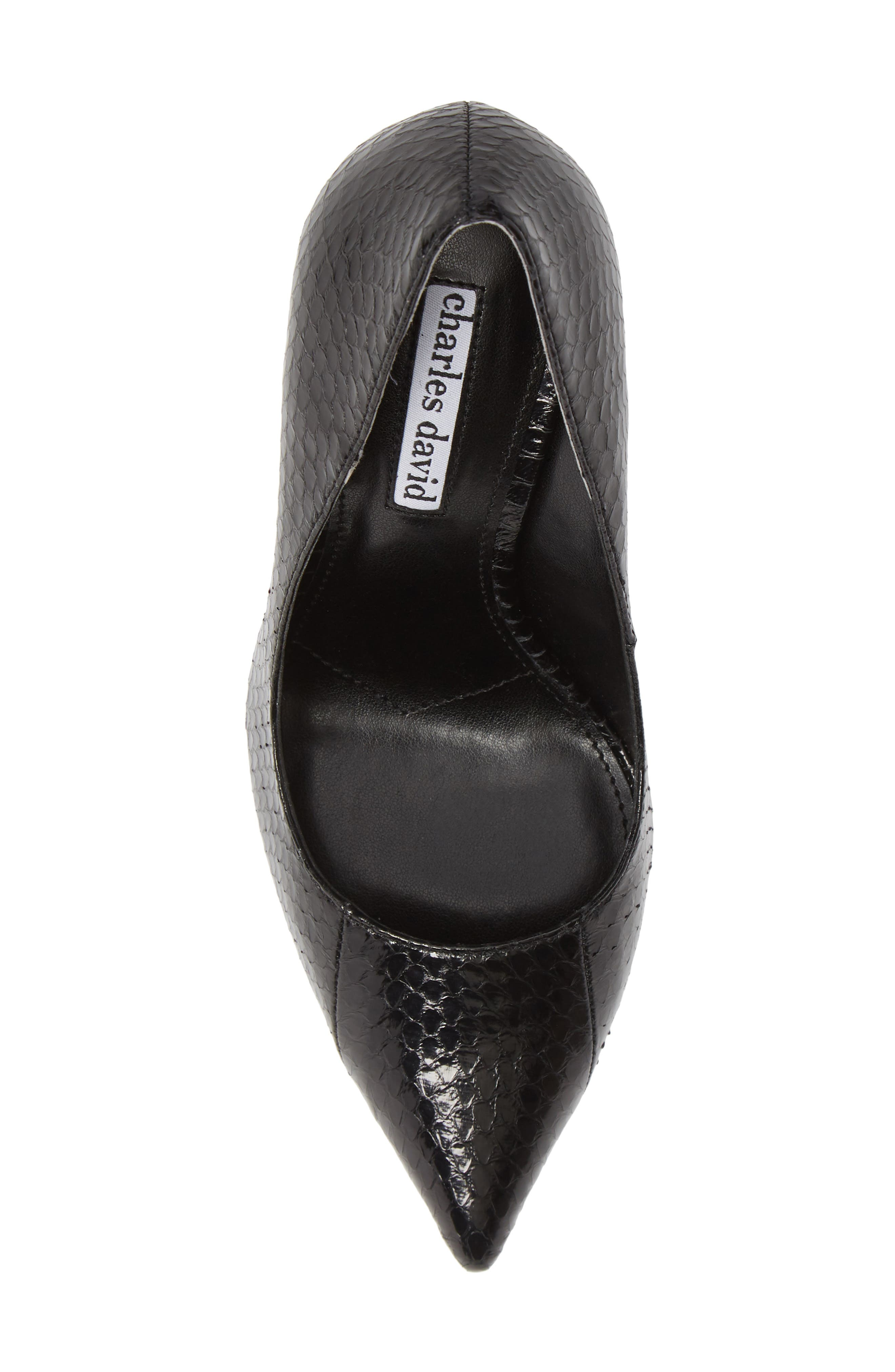 Calessi Pointy Toe Pump,                             Alternate thumbnail 5, color,                             BLACK SNAKE PRINT LEATHER