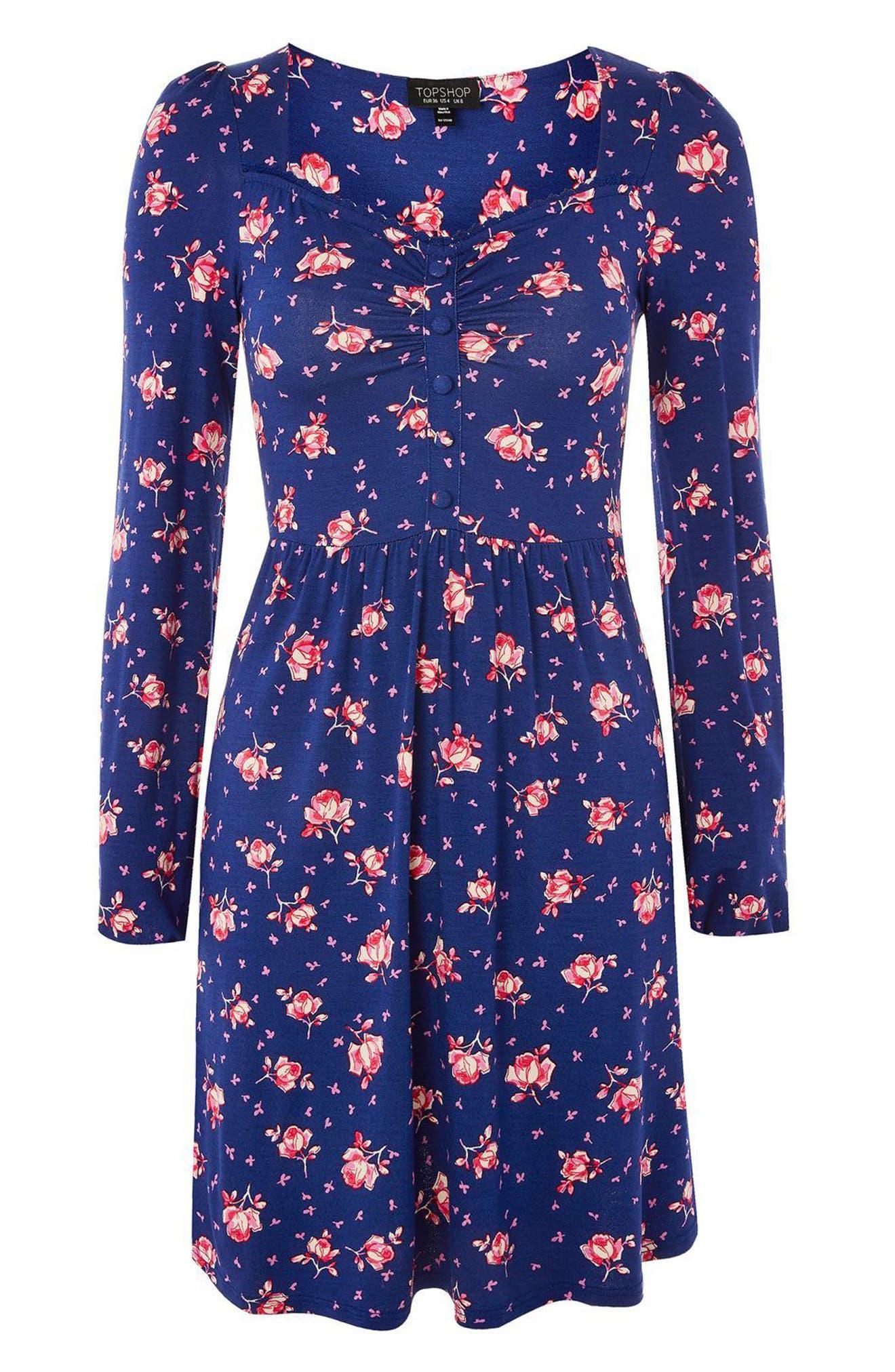 Floral Skater Dress,                             Alternate thumbnail 4, color,                             400