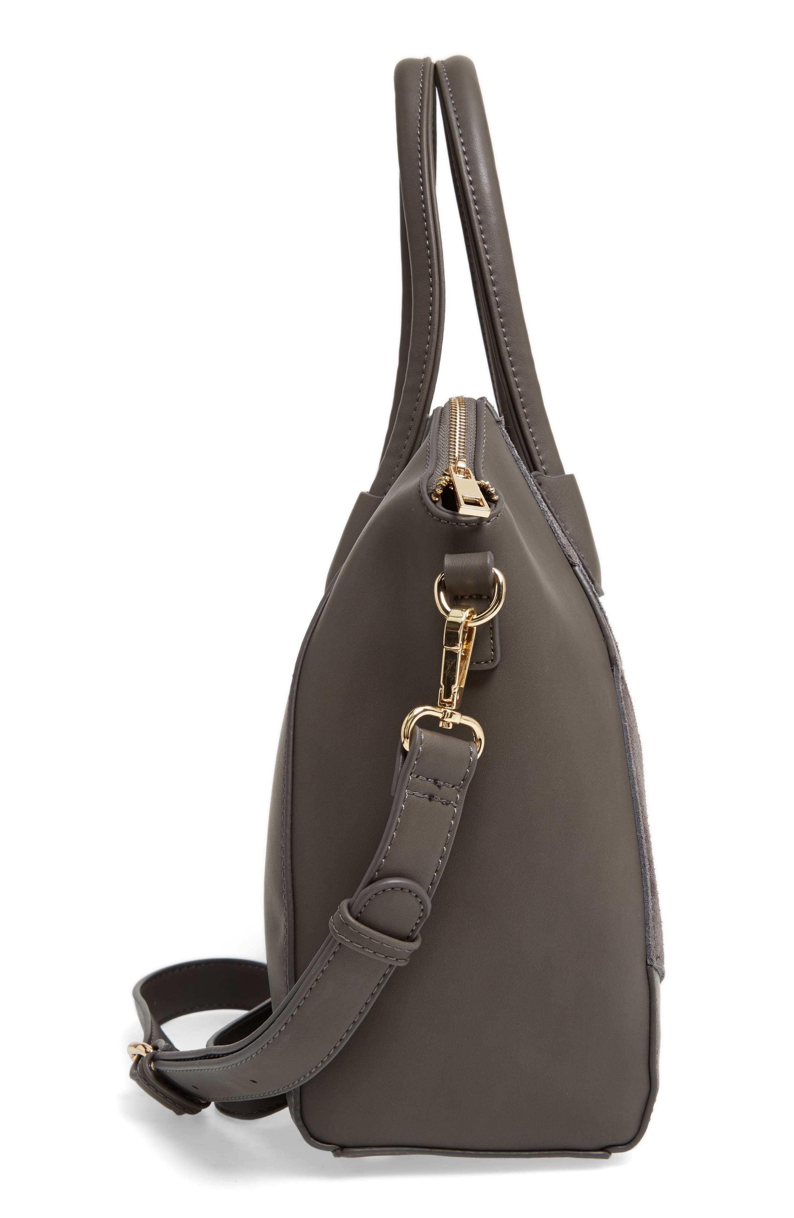 Rosamund Faux Leather and Genuine Suede Satchel,                             Alternate thumbnail 10, color,