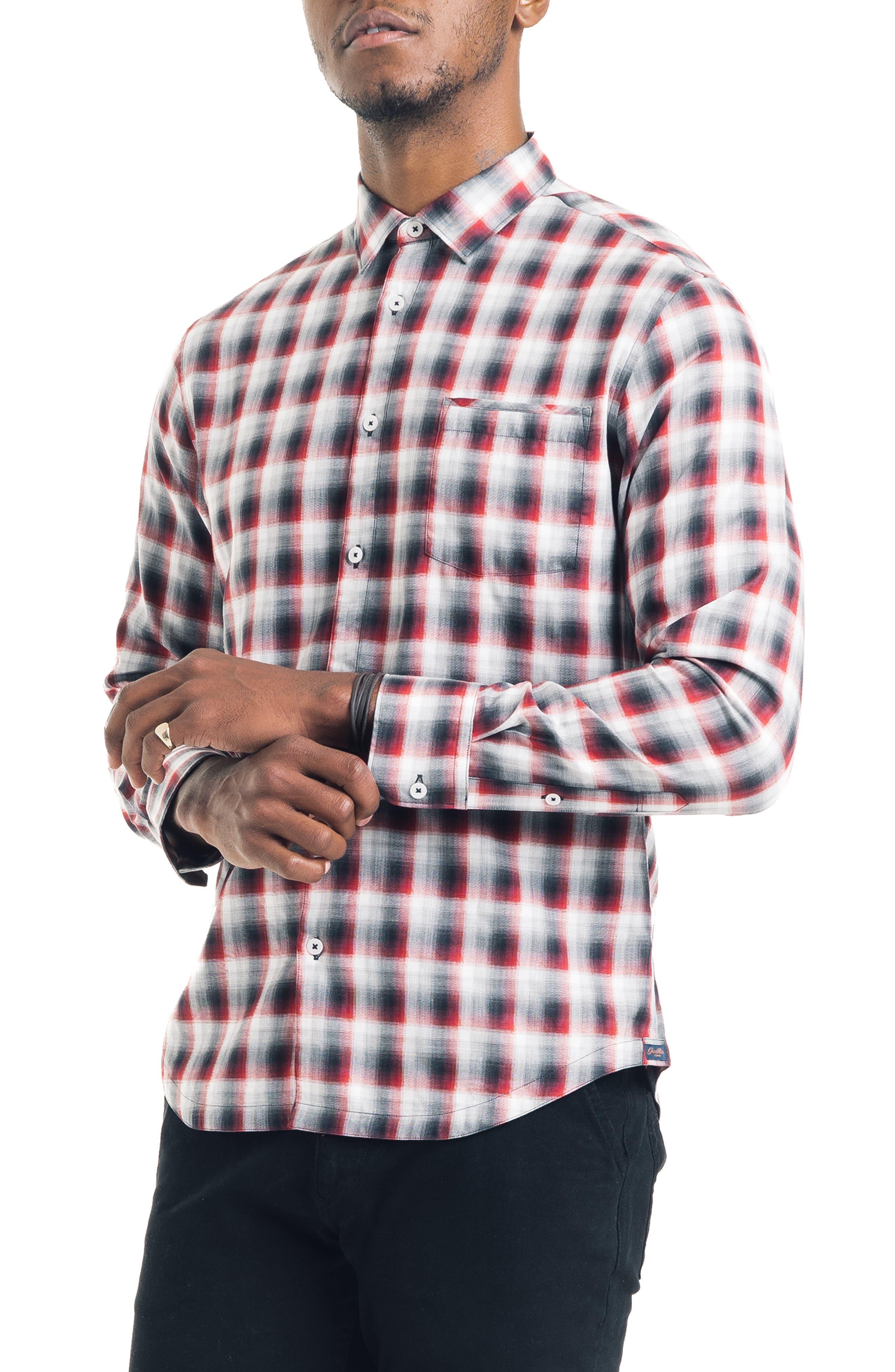 Slim Fit Ombré Plaid Sport Shirt,                         Main,                         color, FIRE