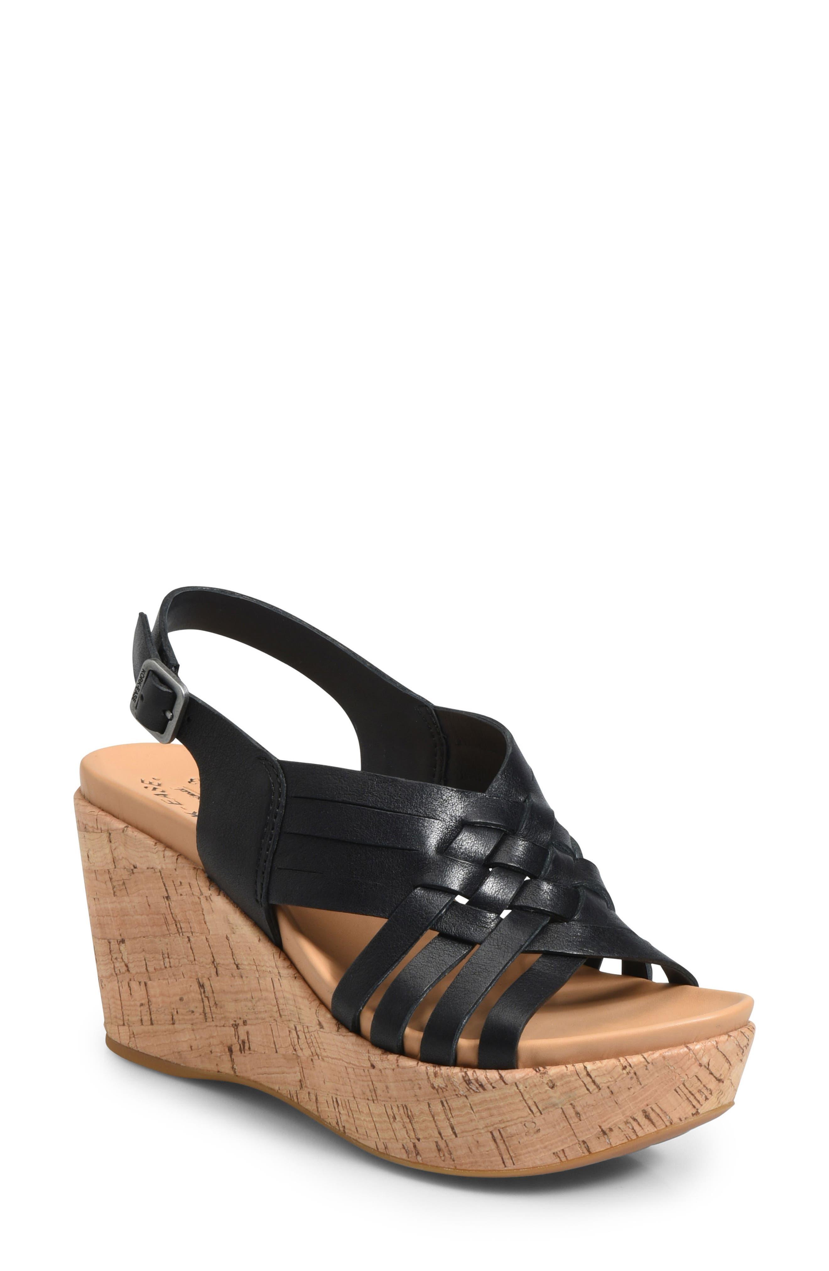 Adelanto Wedge Sandal,                         Main,                         color, BLACK LEATHER
