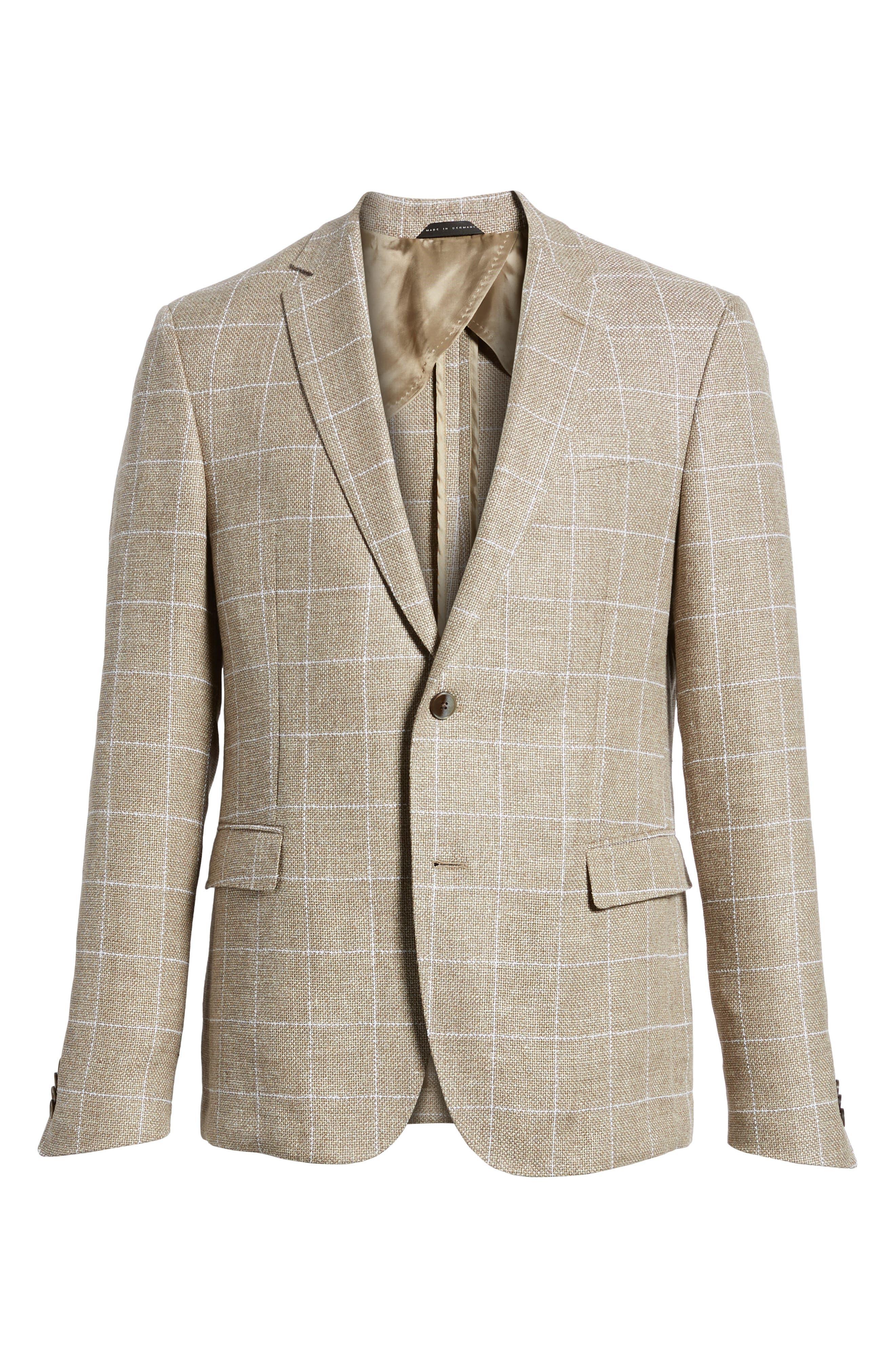 Nobis Trim Fit Windowpane Wool & Linen Sport Coat,                             Alternate thumbnail 5, color,                             250