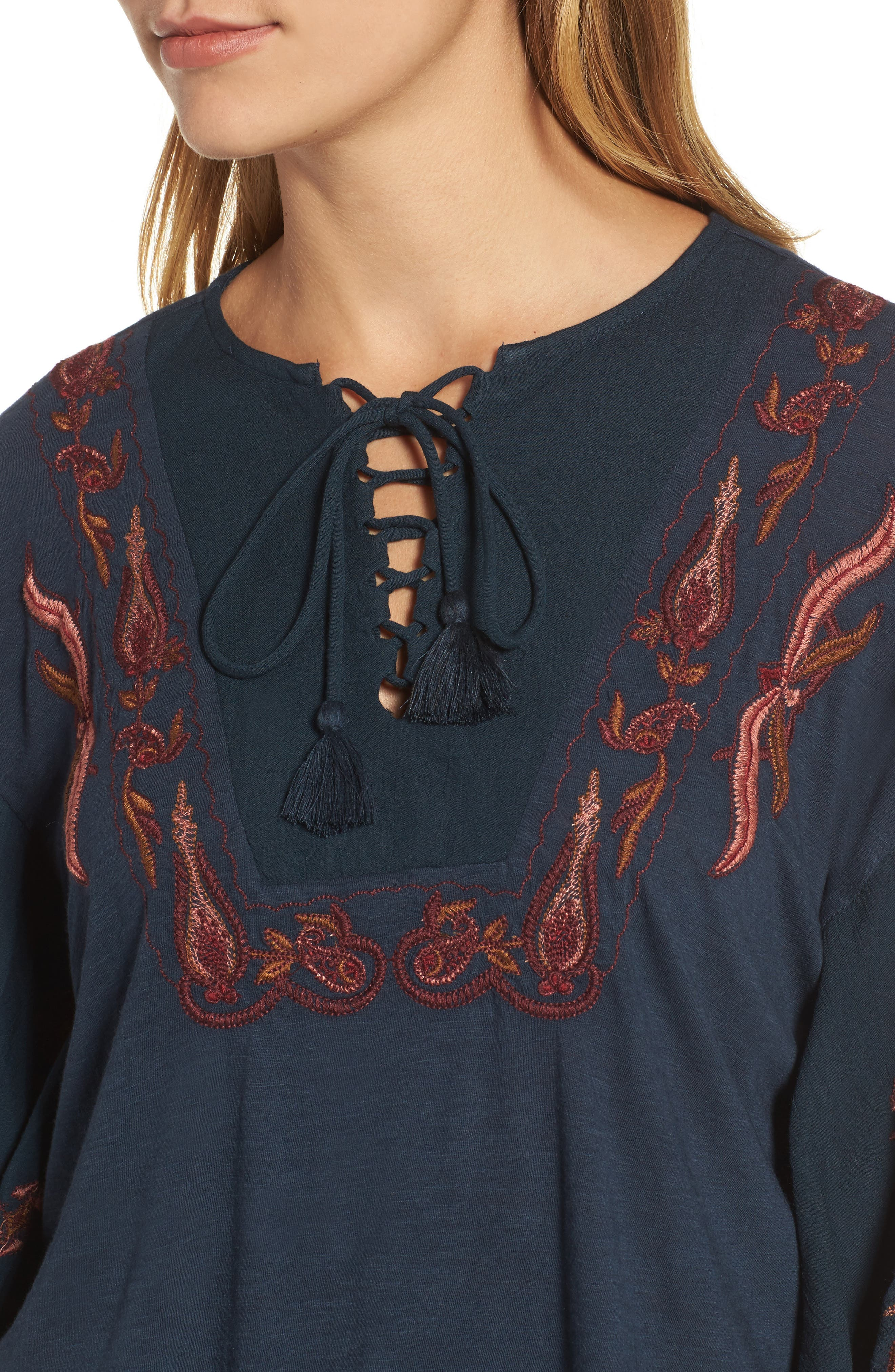 Embroidered Lace Up Peasant Top,                             Alternate thumbnail 7, color,