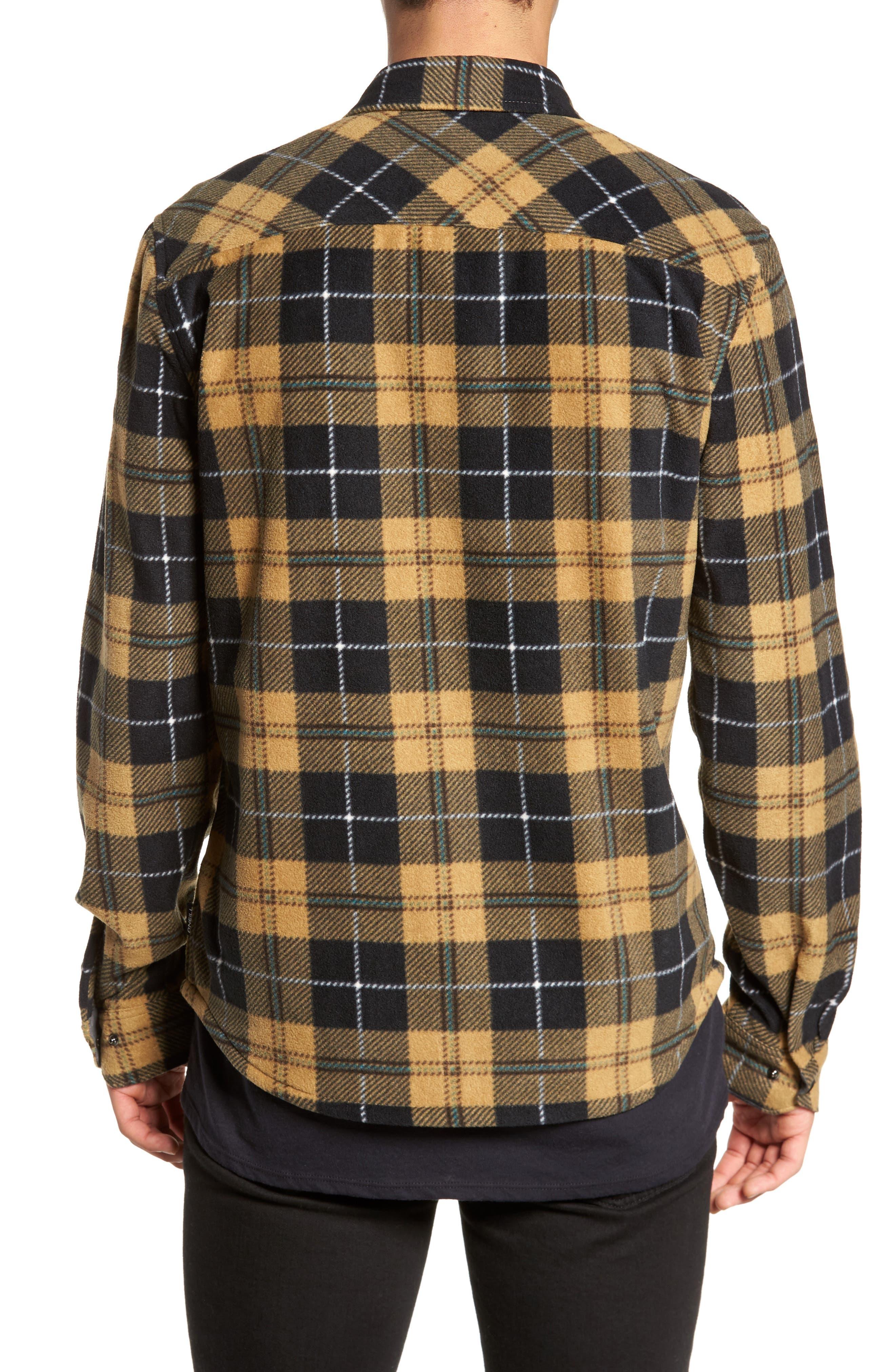 Glacier Plaid Fleece Flannel Shirt,                             Alternate thumbnail 6, color,