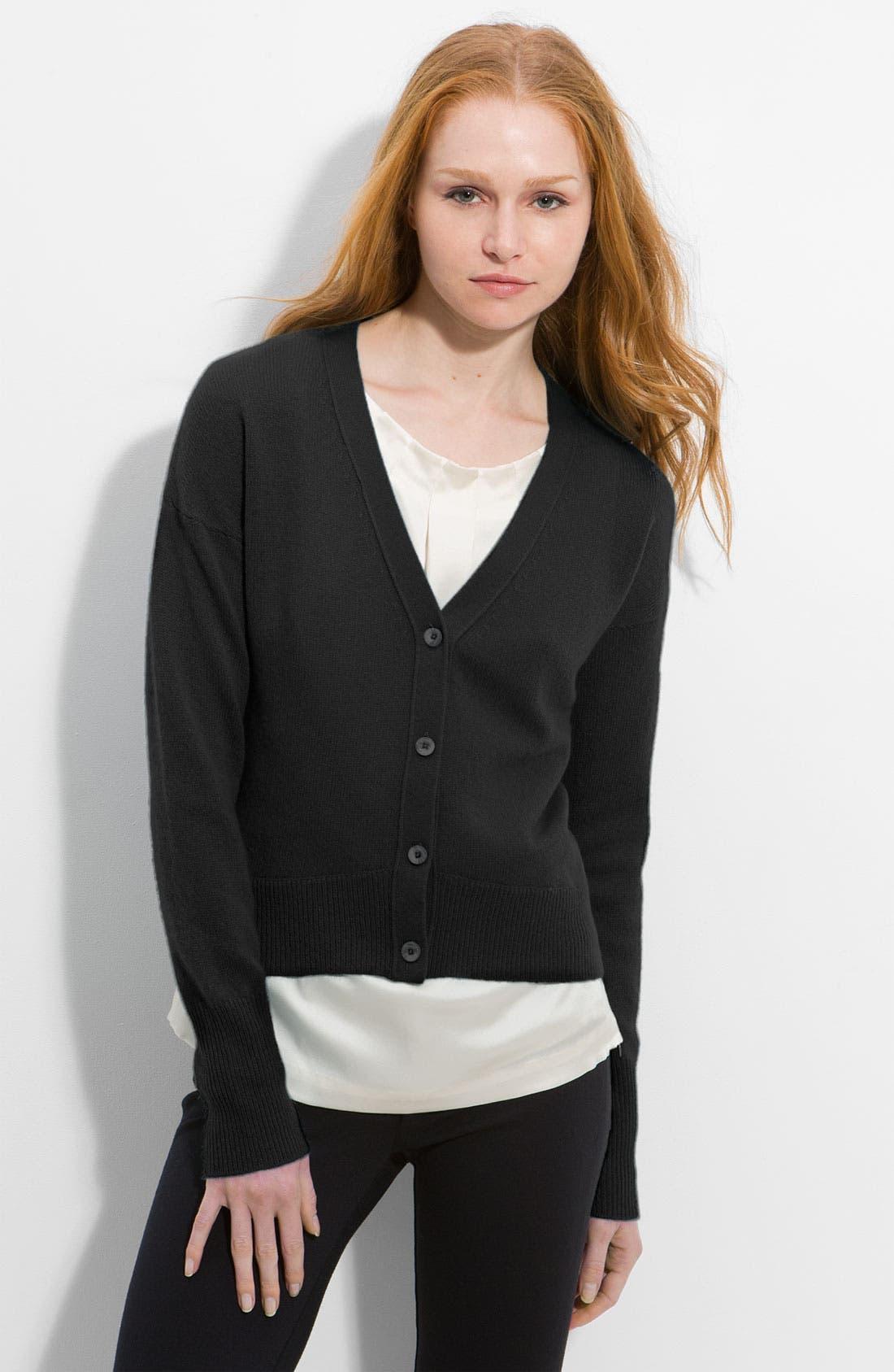 'Olivia' Crop Cashmere Cardigan, Main, color, 001