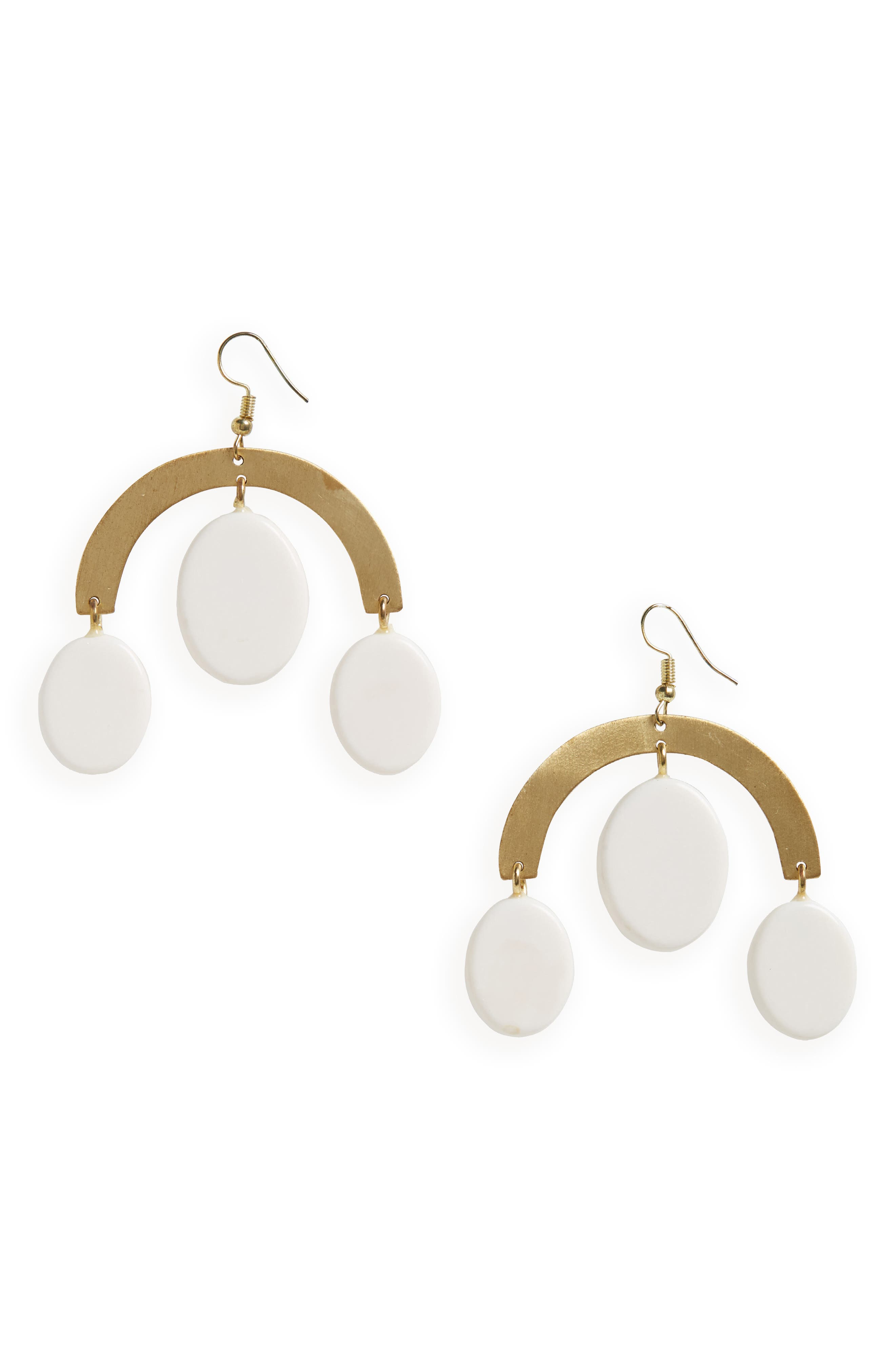 Clove Earrings,                         Main,                         color, WHITE