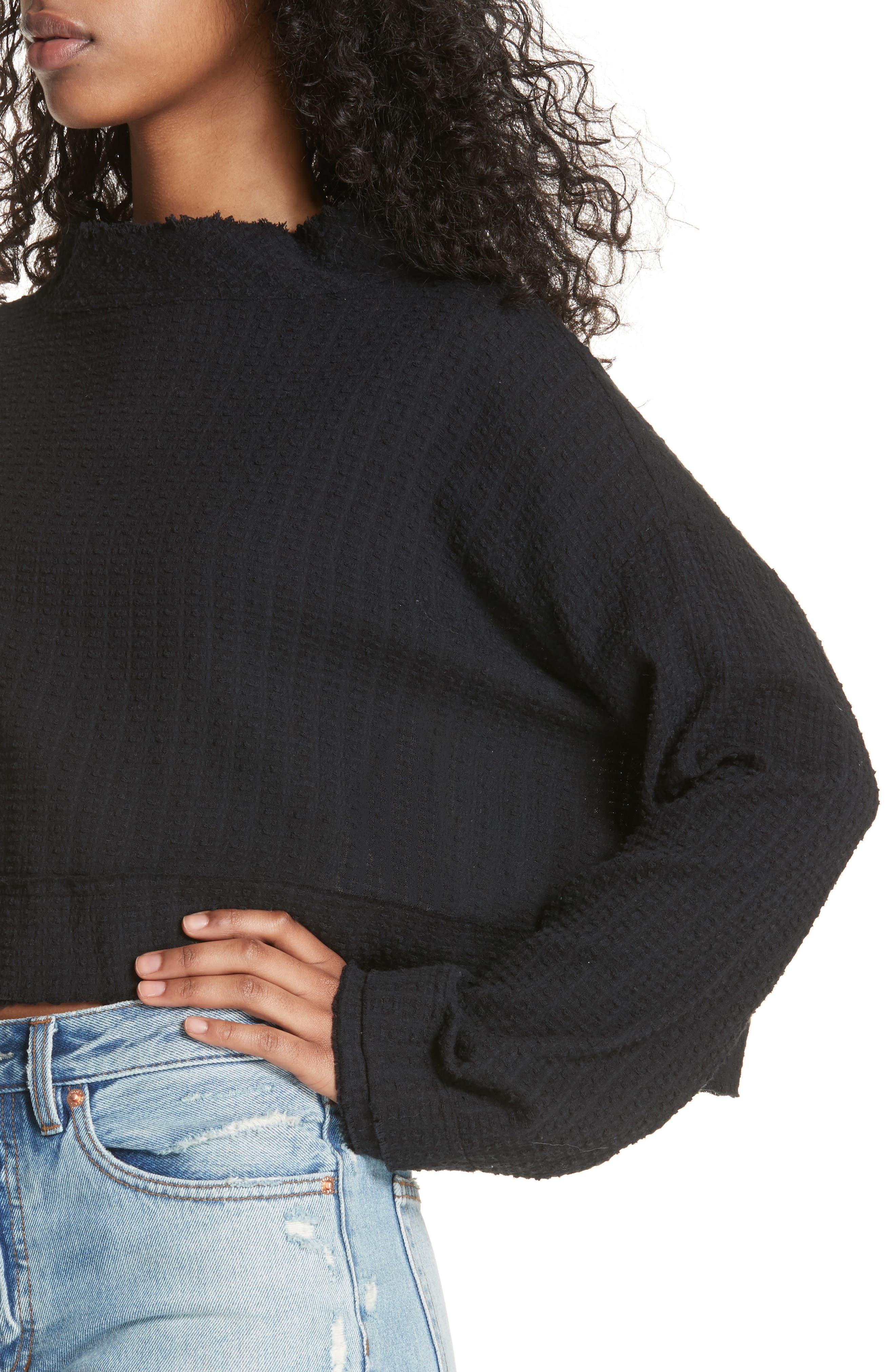 Waking in Hueco Crop Sweater,                             Alternate thumbnail 4, color,                             001