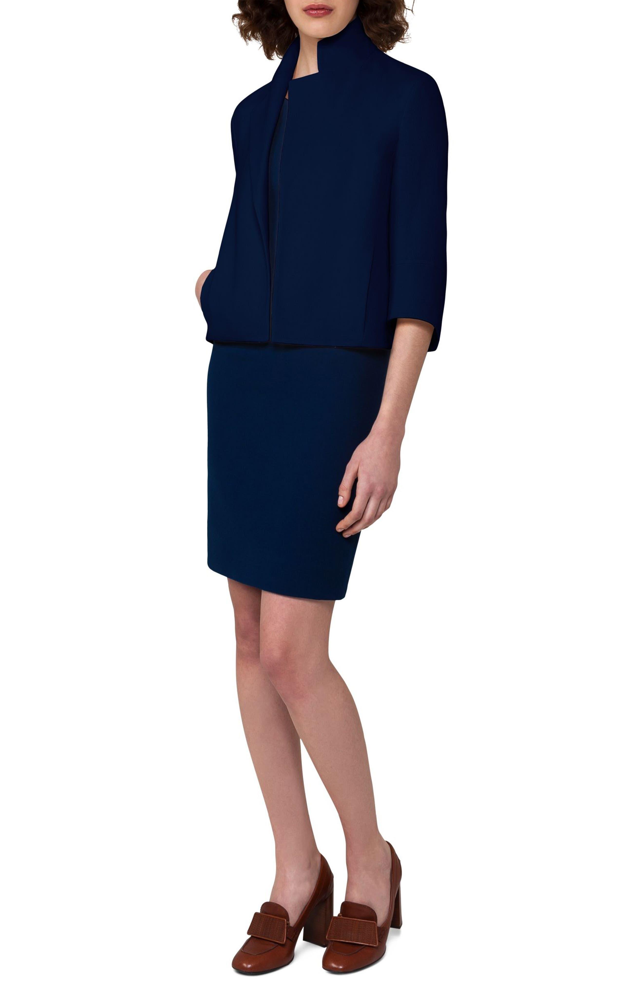 Double Face Wool Crepe Sheath Dress,                             Alternate thumbnail 3, color,                             400