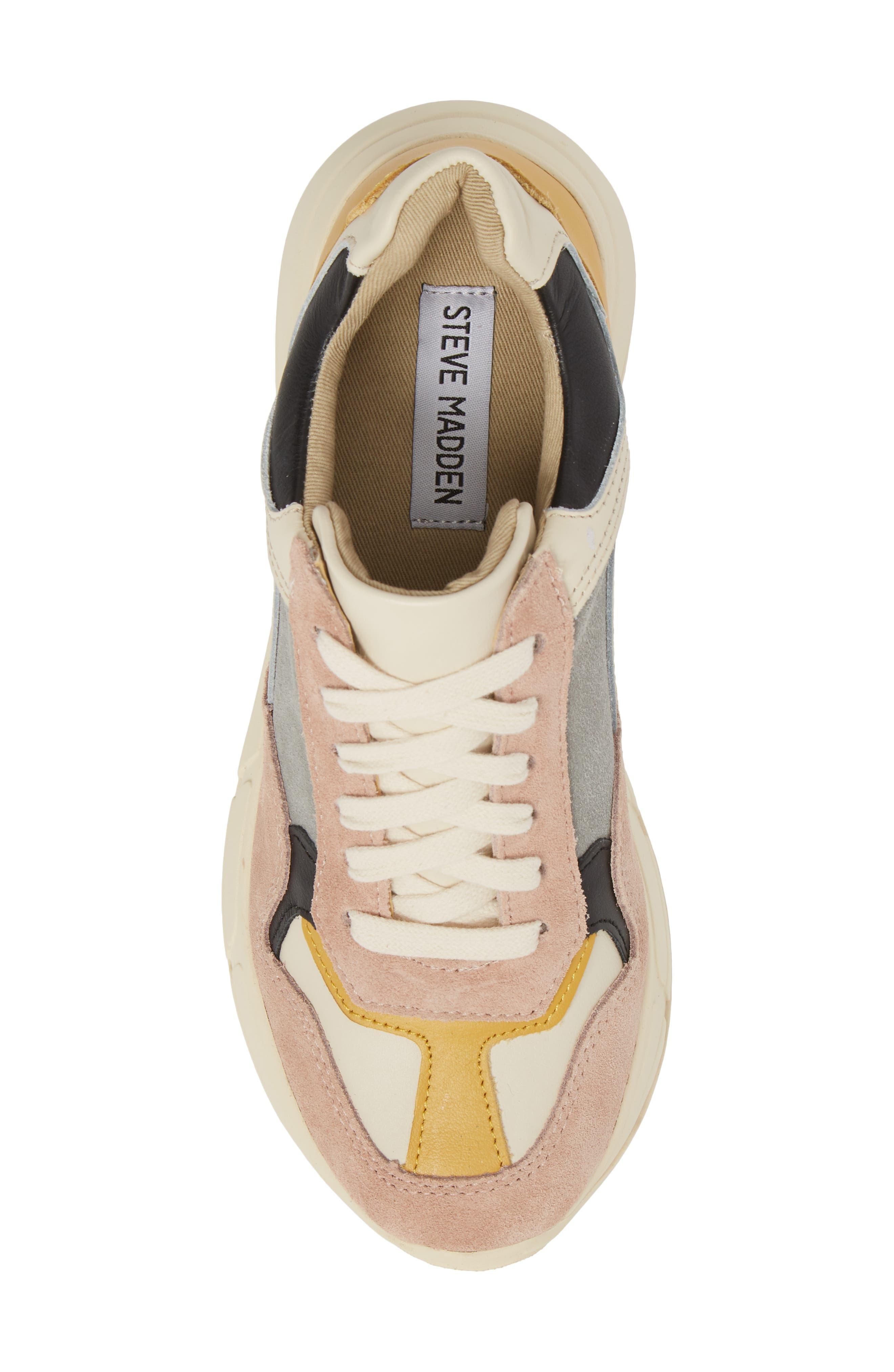 Memory Platform Wedge Sneaker,                             Alternate thumbnail 5, color,                             PINK MULTI
