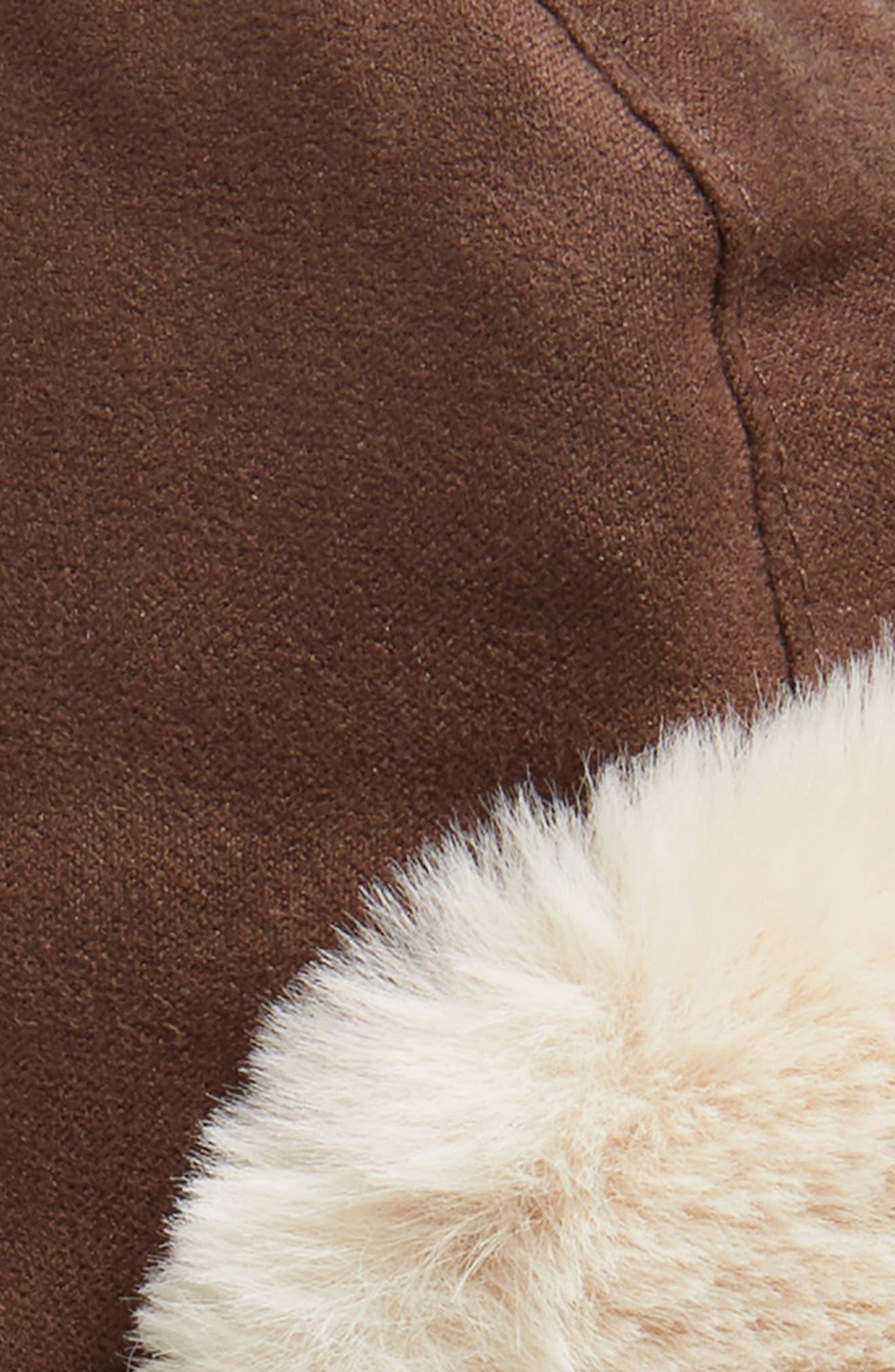 Faux Fur Lined Trapper Hat,                             Alternate thumbnail 2, color,                             DARK BROWN