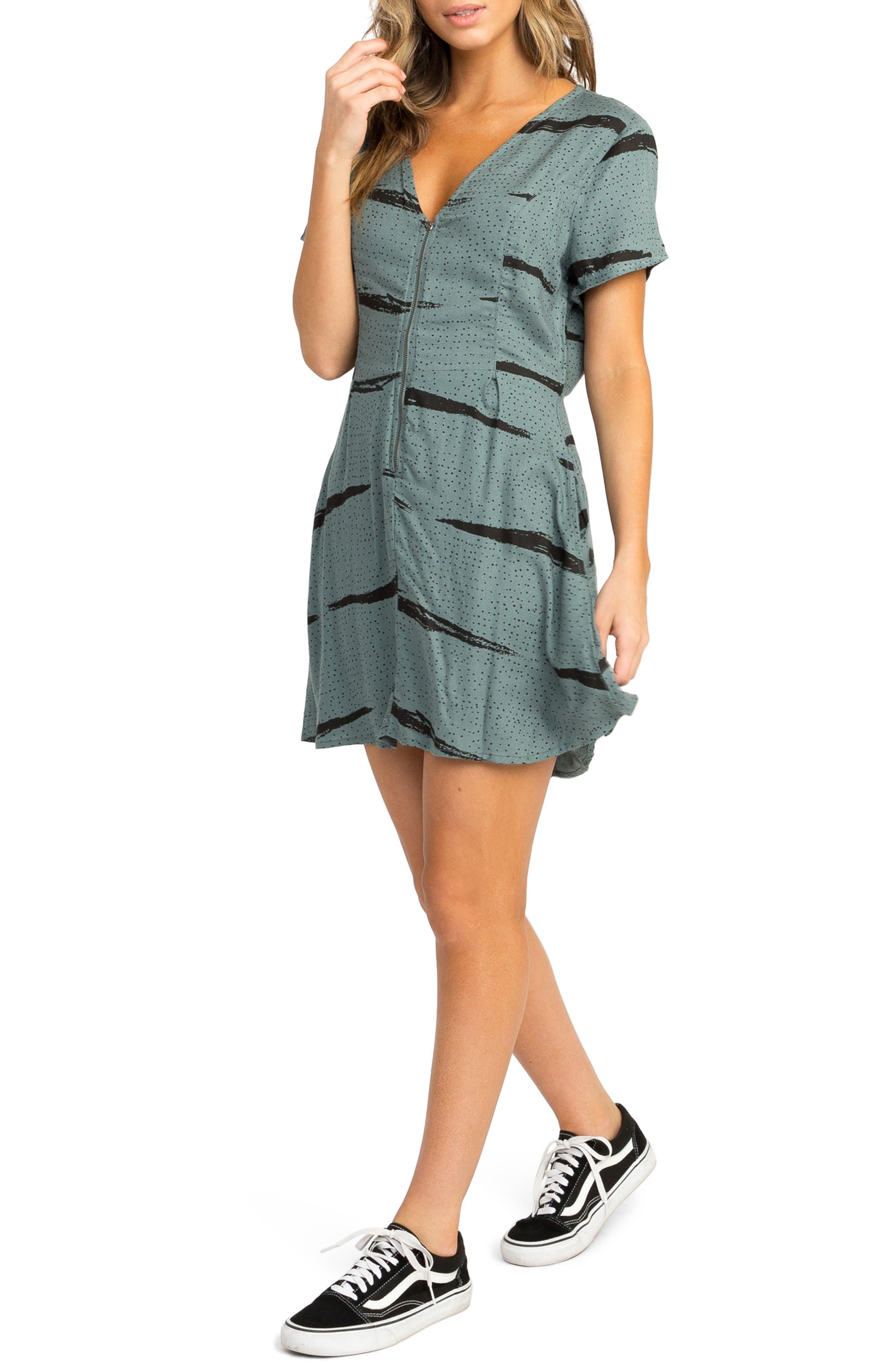 RVCA,                             Dawning Print Dress,                             Alternate thumbnail 4, color,                             382