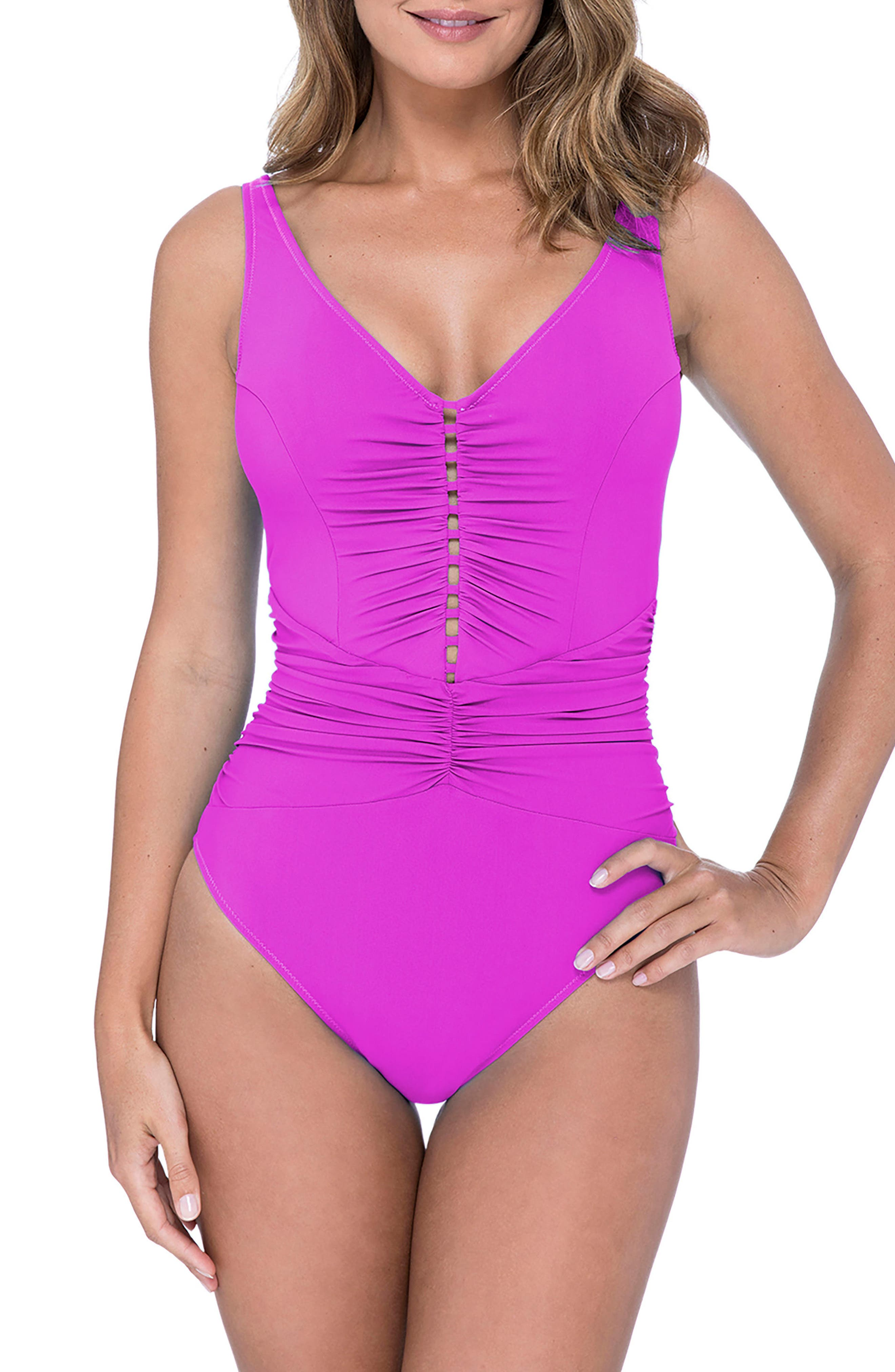 Cocktail Party One-Piece Swimsuit,                             Main thumbnail 1, color,                             WARM VIOLA