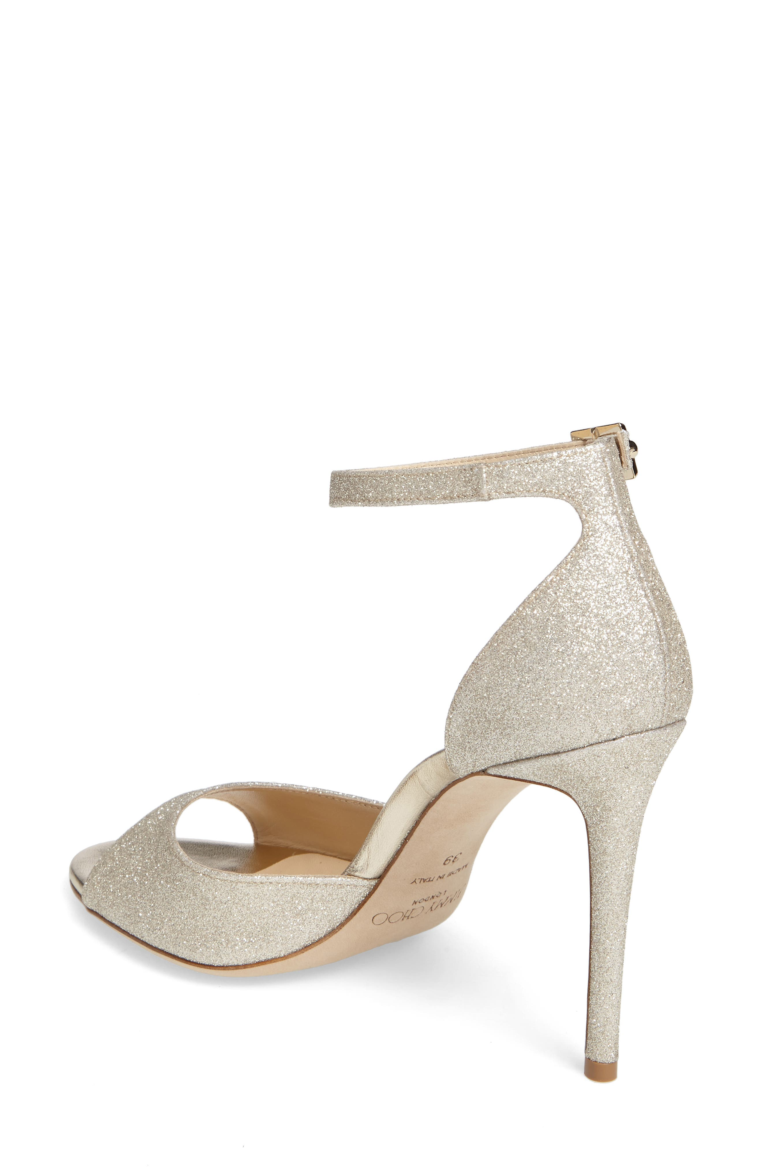 Annie Ankle Strap Sandal,                             Alternate thumbnail 2, color,                             PLATINUM