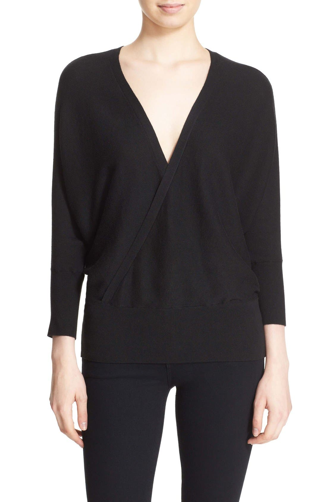 MILLY,                             Convertible Wrap Sweater,                             Main thumbnail 1, color,                             001