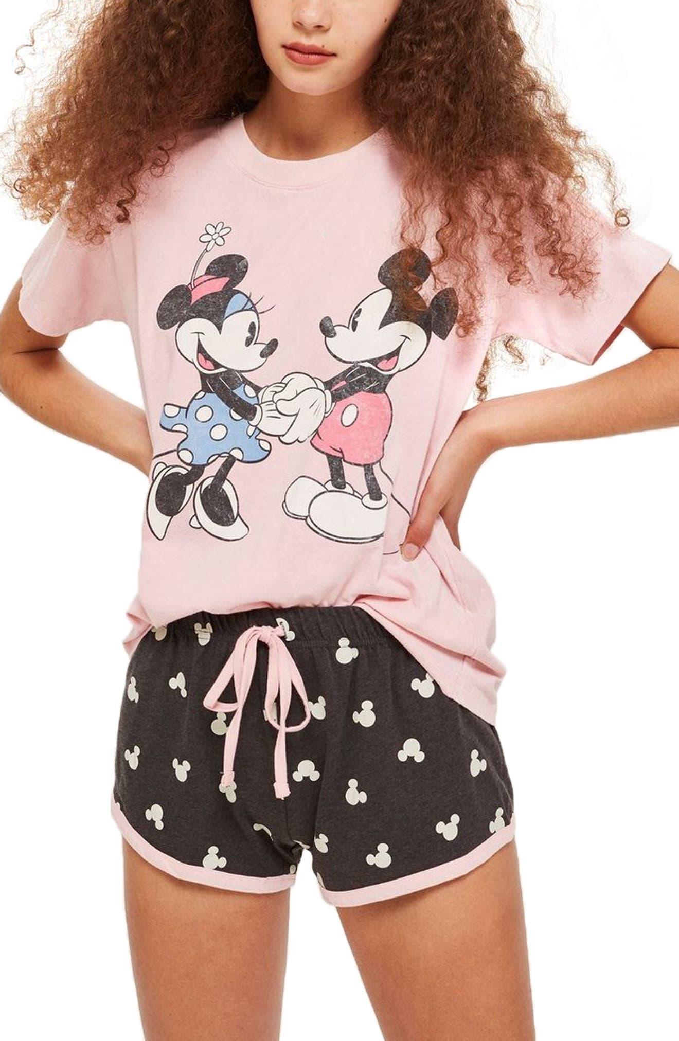 Minnie & Mickey Short Pajamas,                             Main thumbnail 1, color,                             DUSTY PINK MULTI