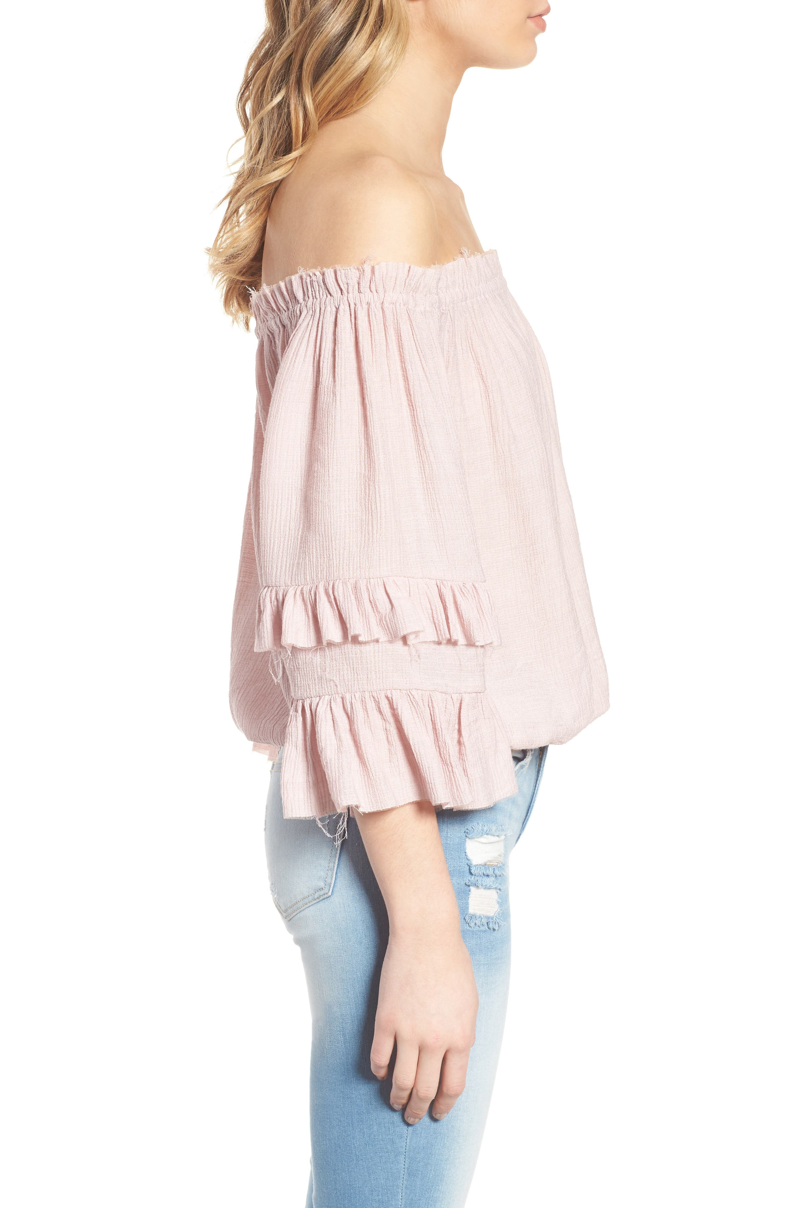 KNOW ONE CARES,                             Tiered Off the Shoulder Top,                             Alternate thumbnail 3, color,                             685