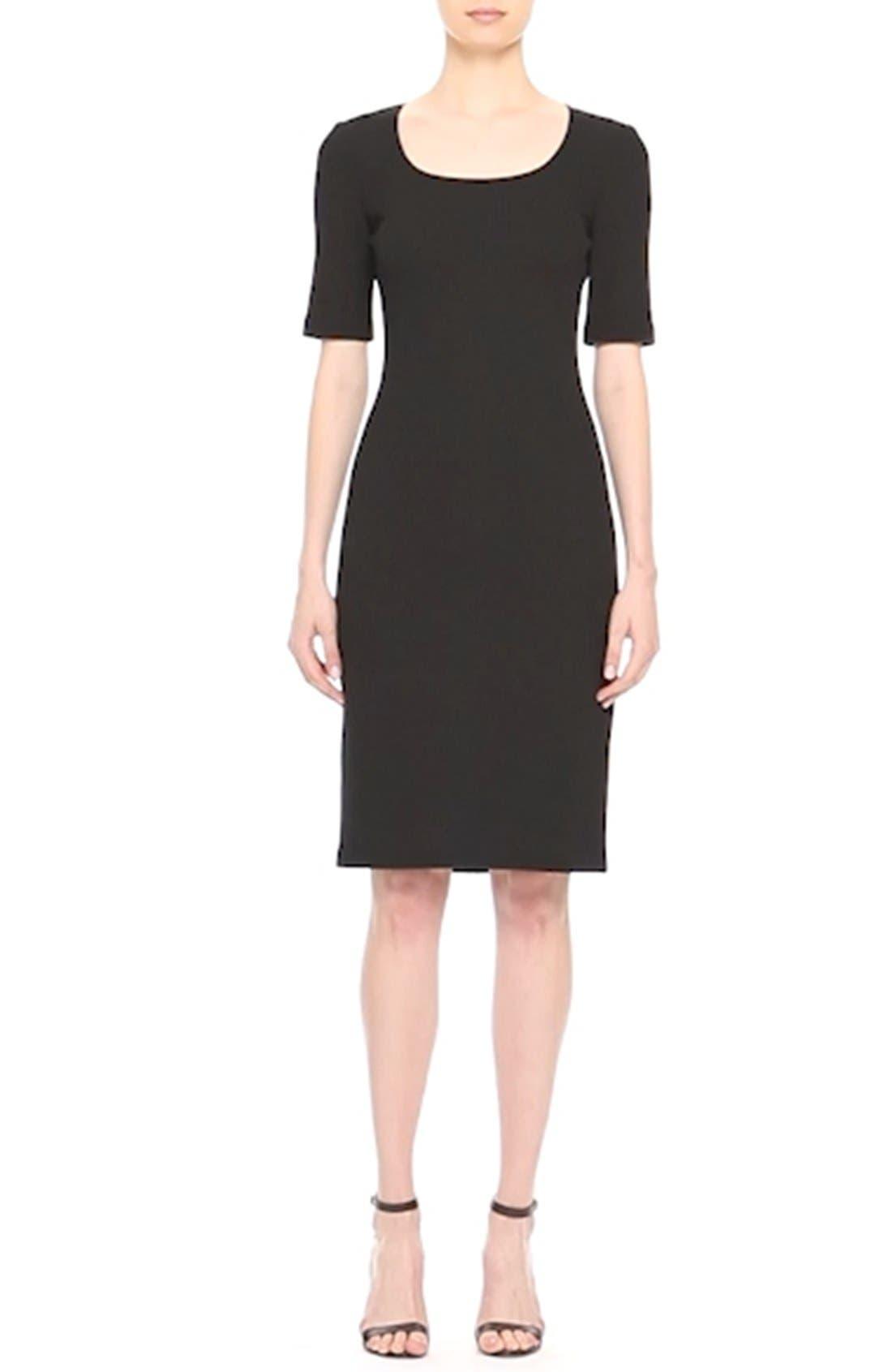 Milano Piqué Knit Scoop Neck Dress,                             Alternate thumbnail 2, color,                             001