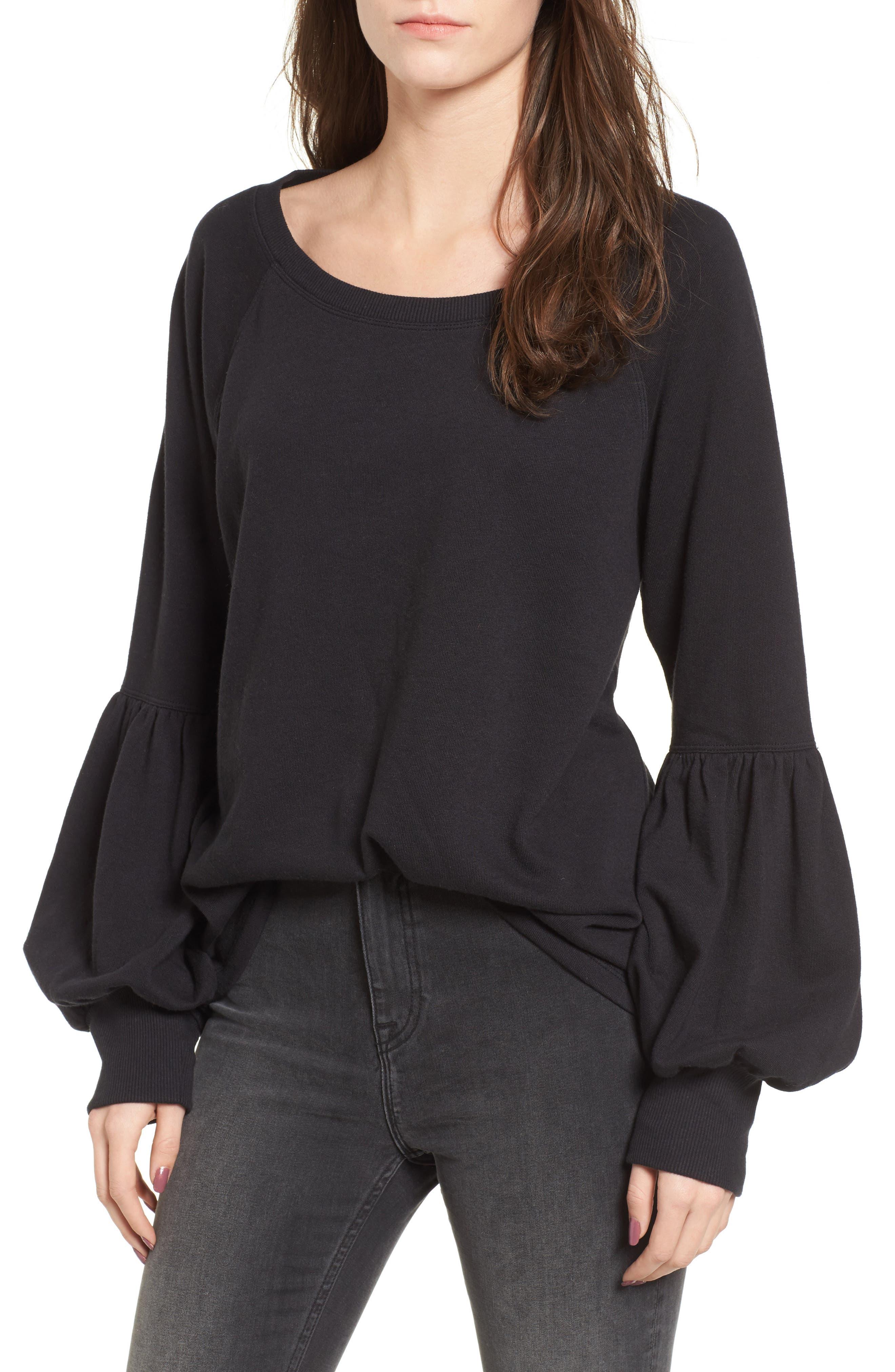 Blouson Sleeve Sweatshirt,                         Main,                         color, 001