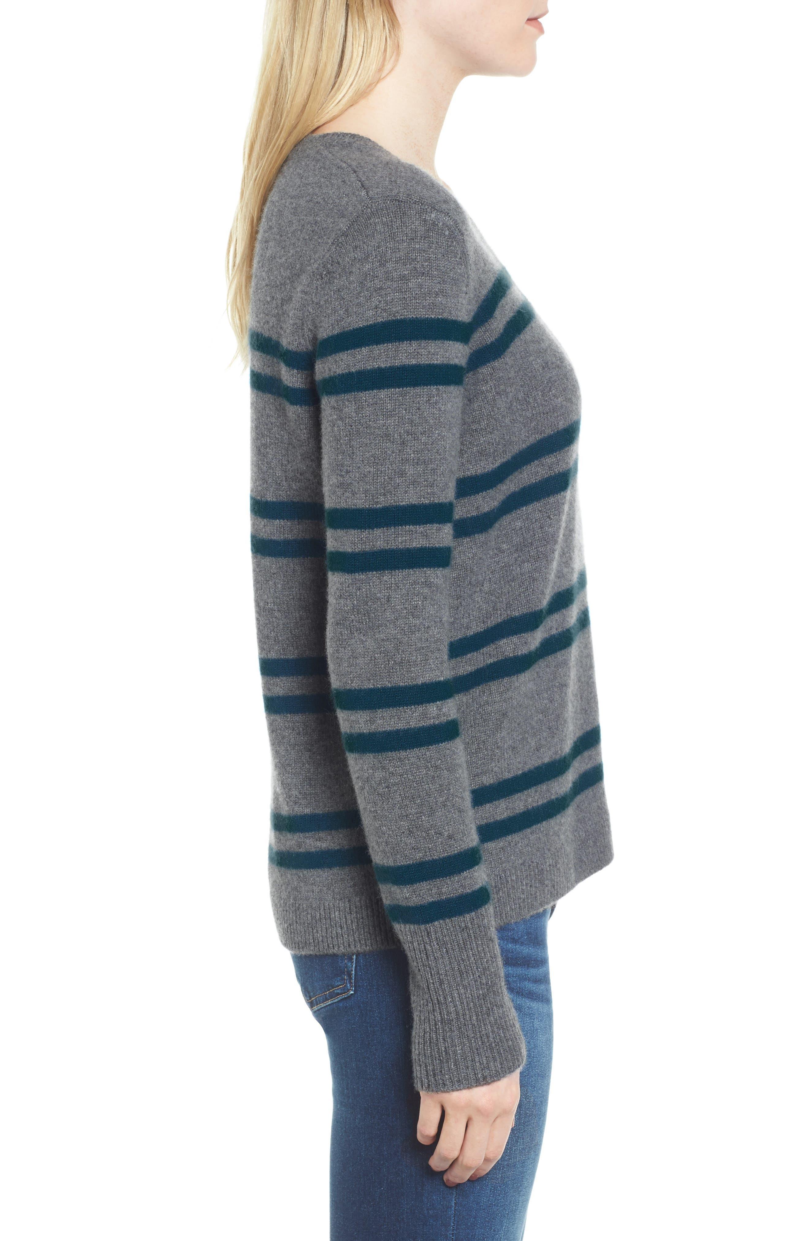Stripe Cashmere Sweatshirt,                             Alternate thumbnail 3, color,                             453