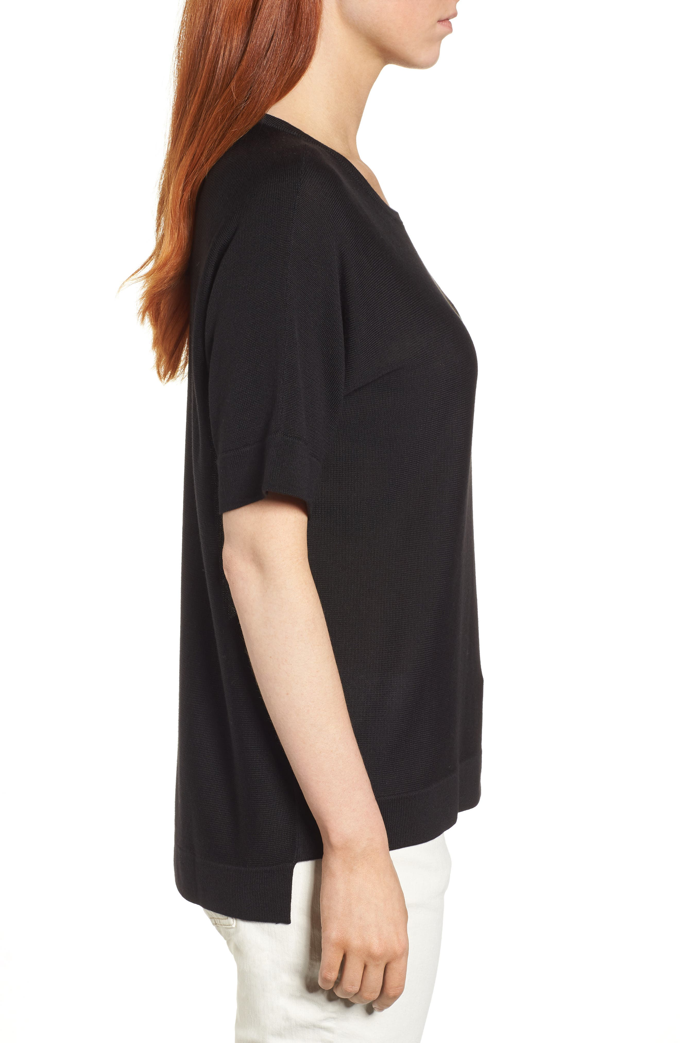 Round Neck Top,                             Alternate thumbnail 3, color,                             001