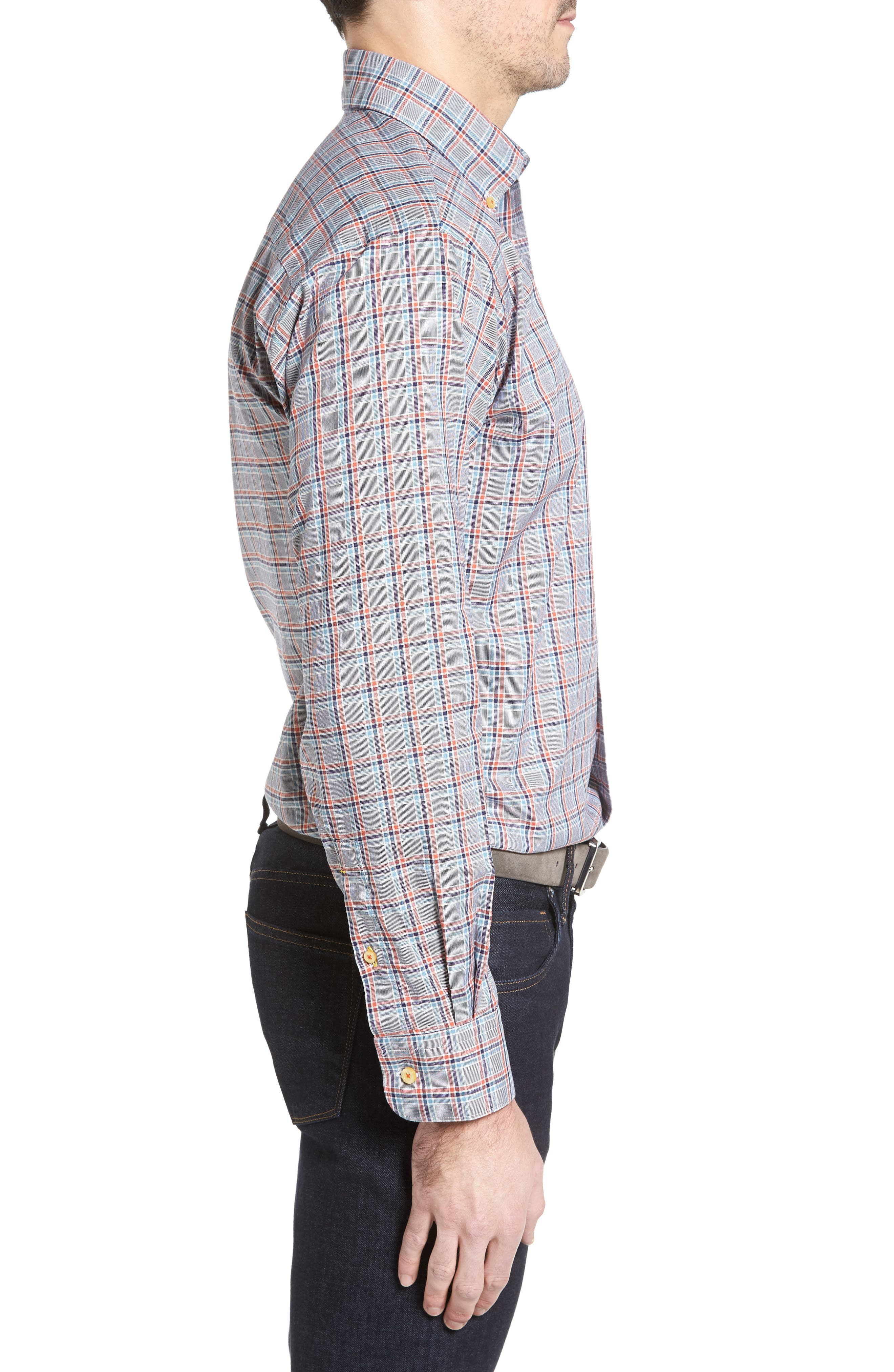 Anderson Classic Fit Plaid Oxford Sport Shirt,                             Alternate thumbnail 3, color,                             401