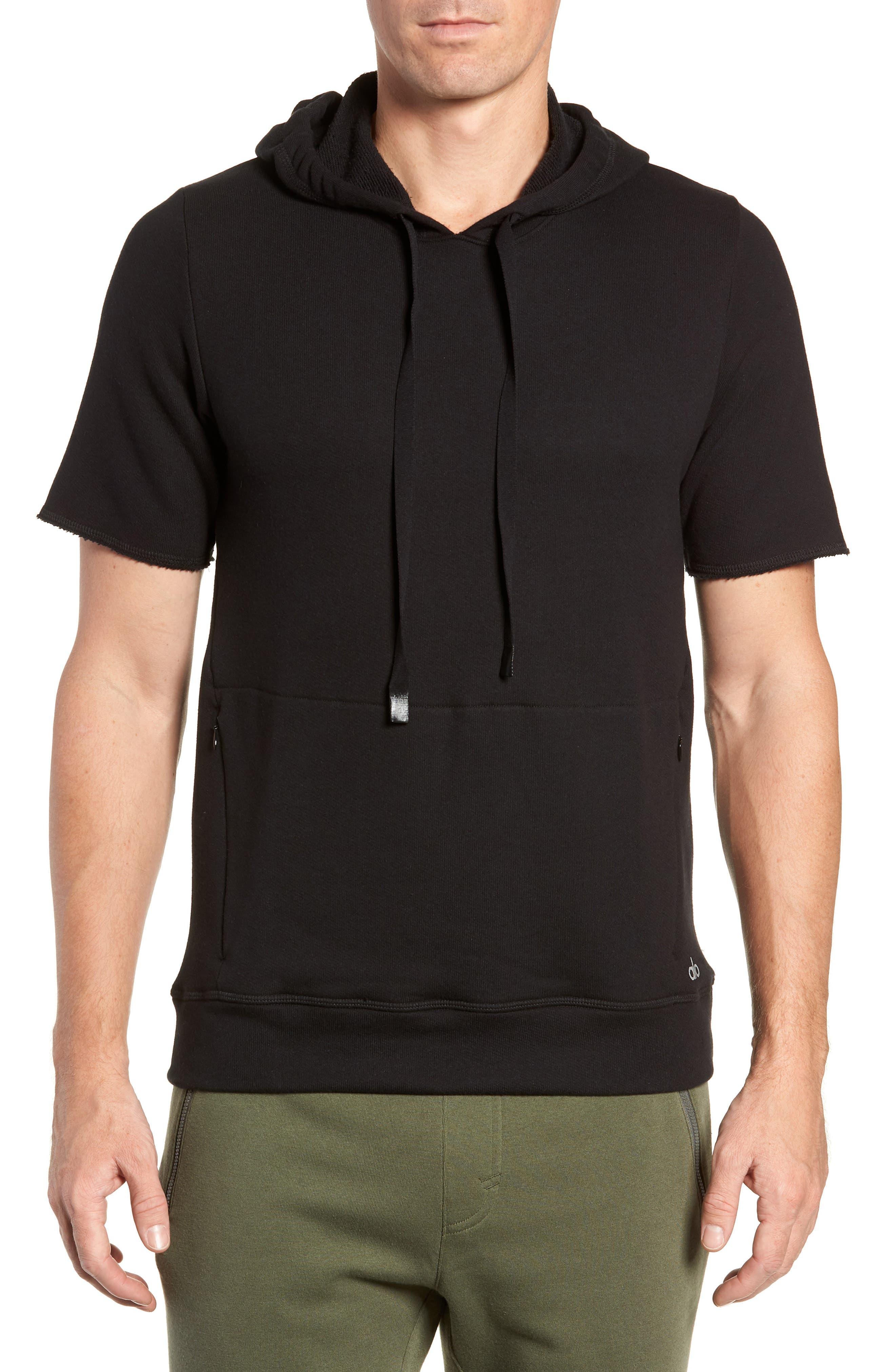 Crow Short Sleeve Hoodie,                         Main,                         color, BLACK