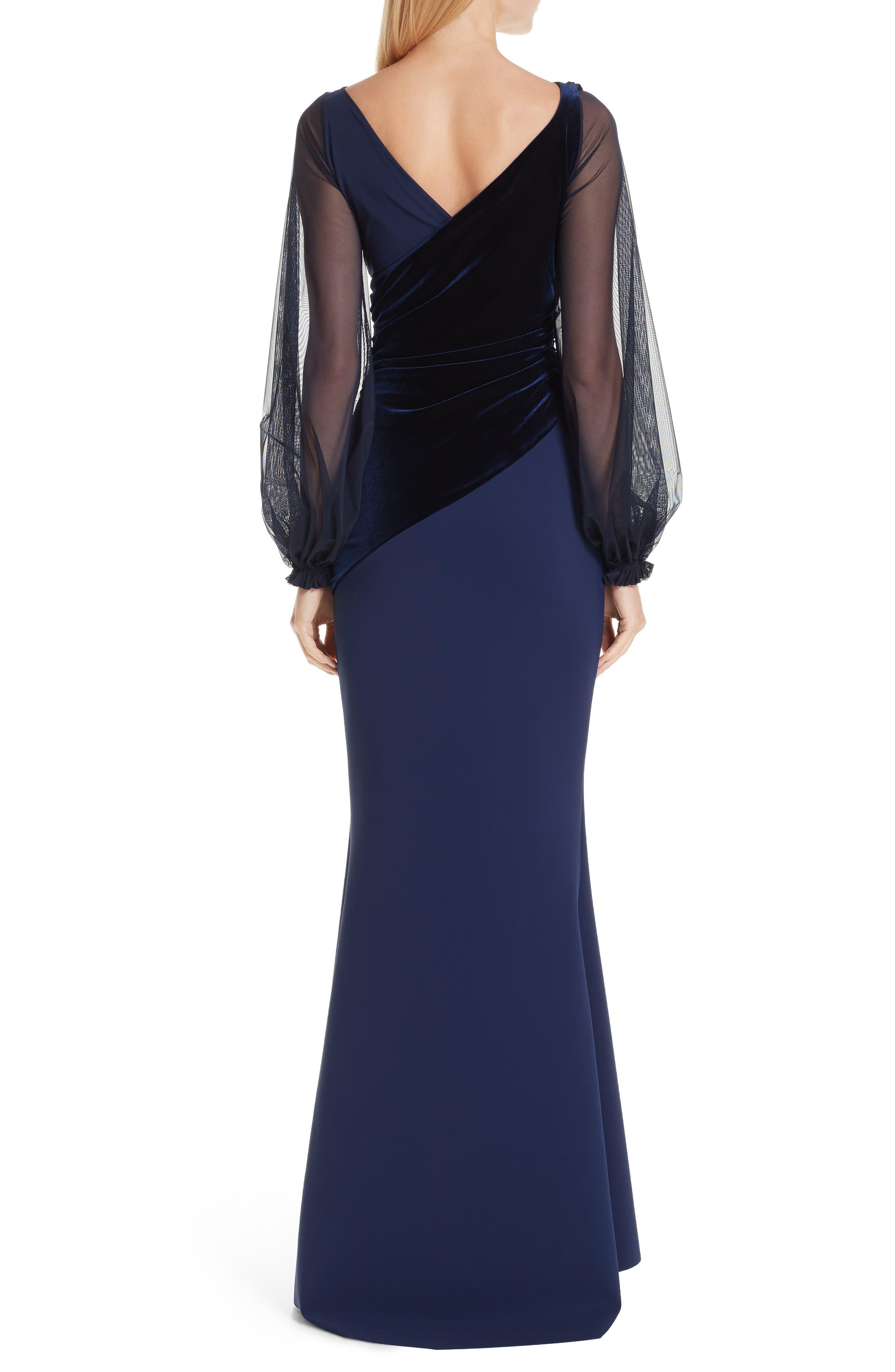 Erenira Mixed Media Gown,                             Alternate thumbnail 2, color,                             BLUE NOTTE