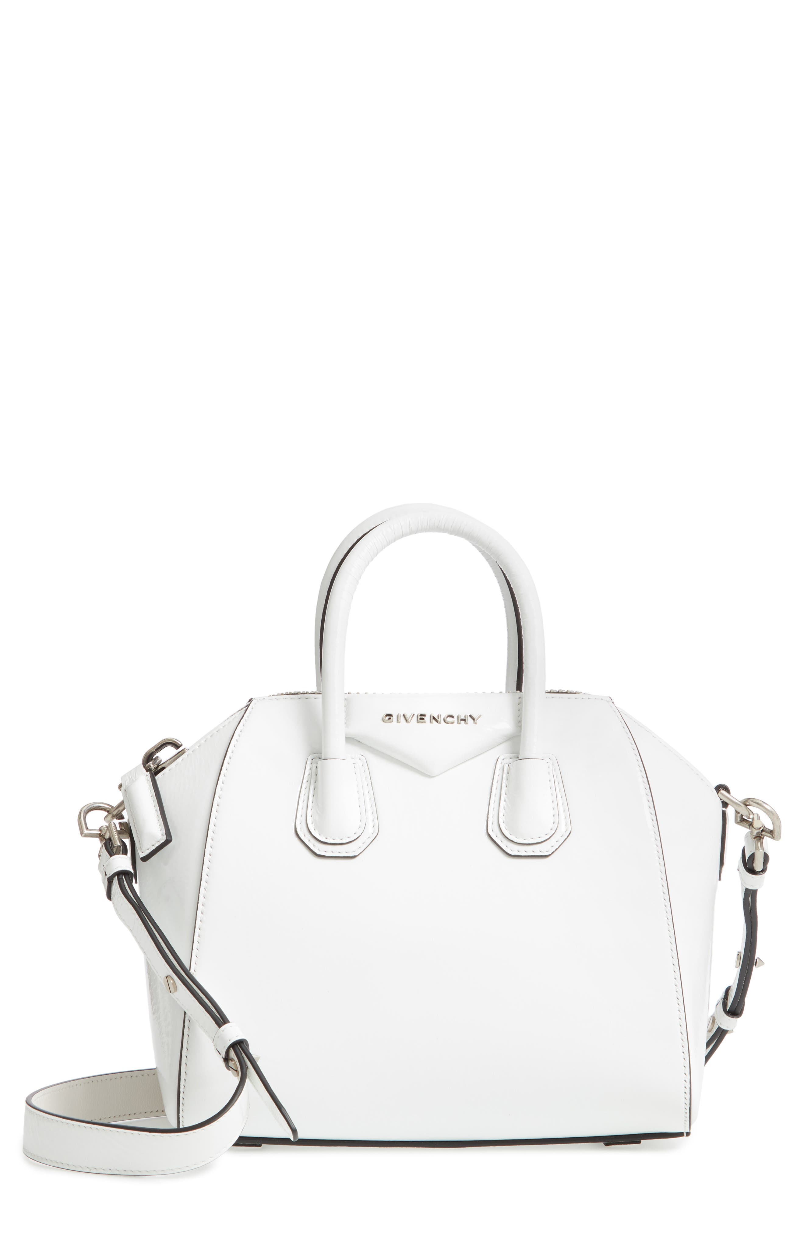 Mini Antigona Patent Leather Satchel,                         Main,                         color, WHITE