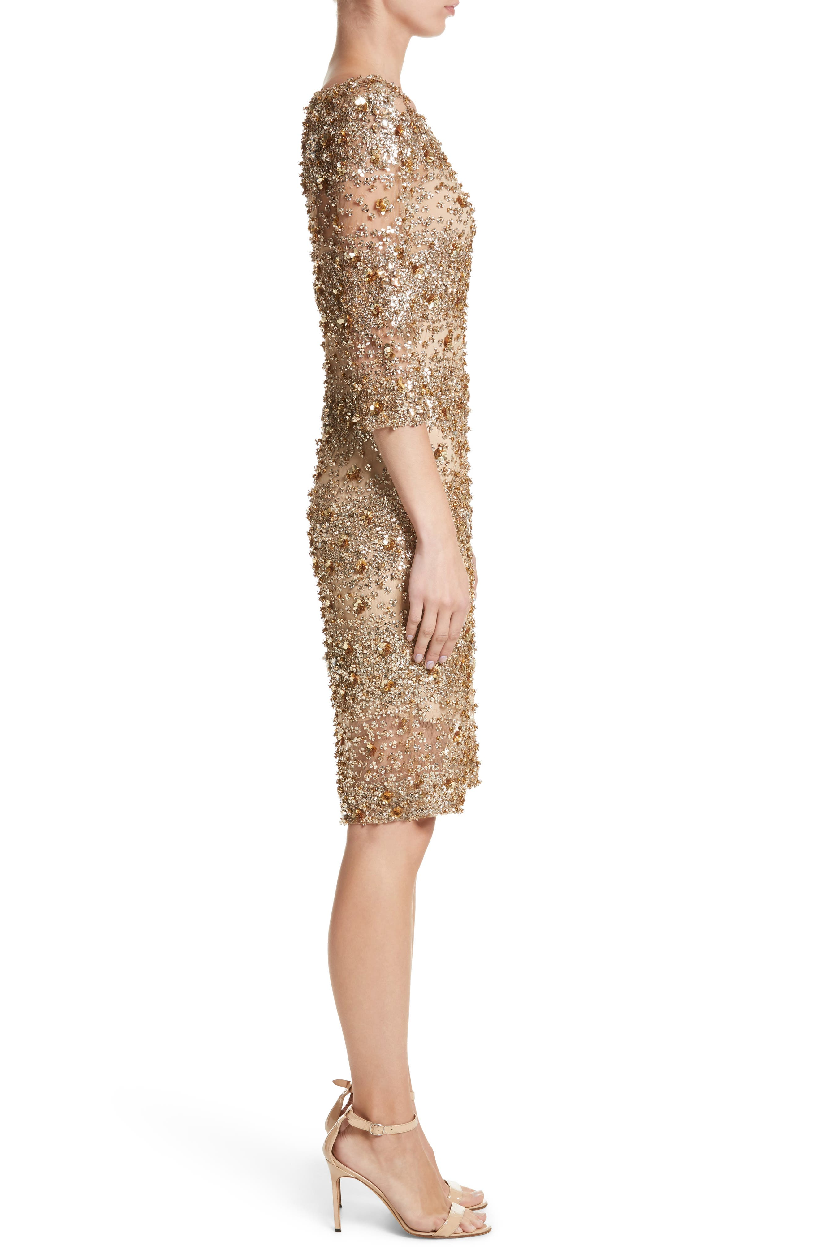 Embellished Dégradé Sheath Dress,                             Alternate thumbnail 3, color,