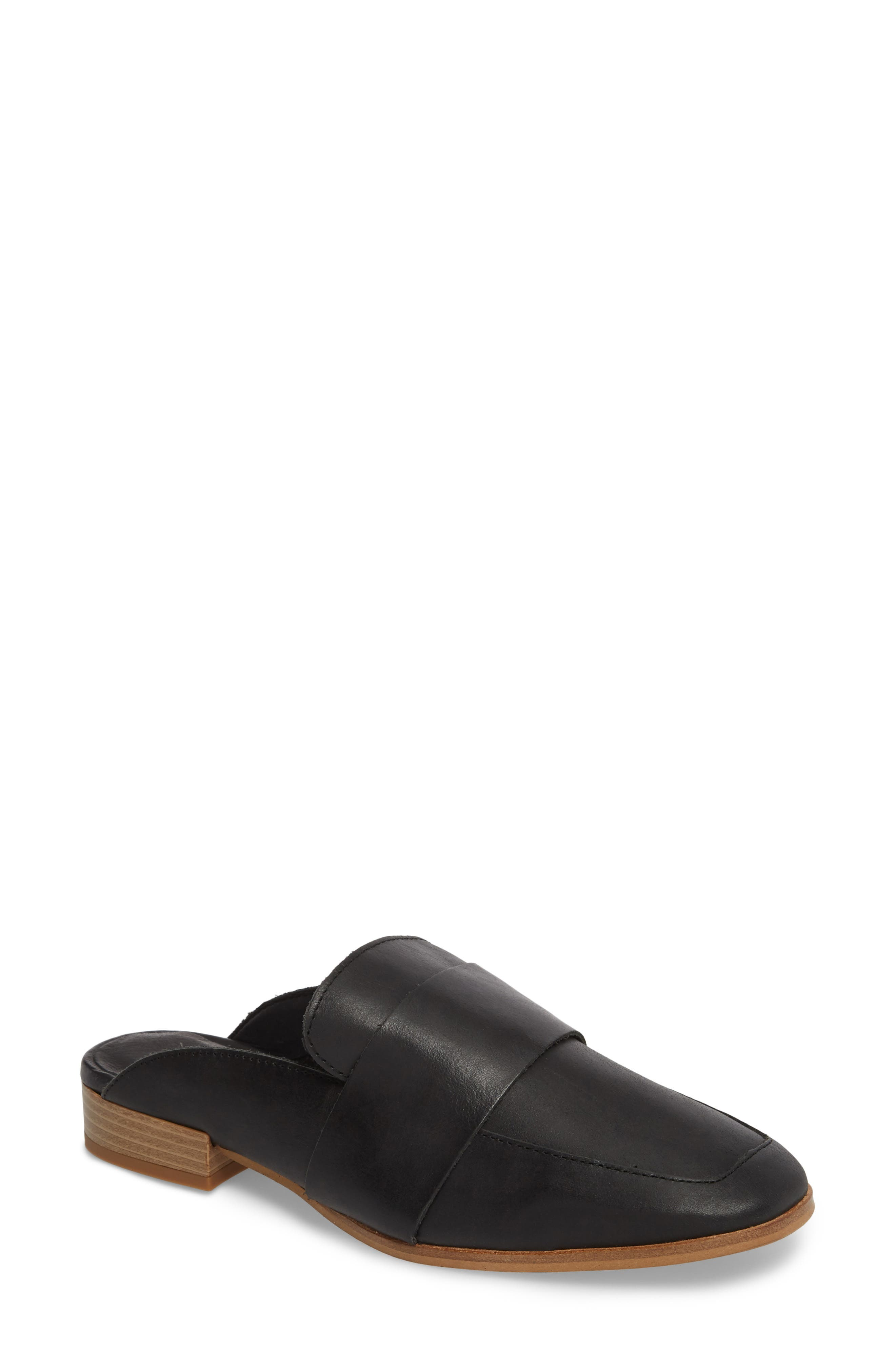 At Ease Loafer Mule, Main, color, CARBON LEATHER