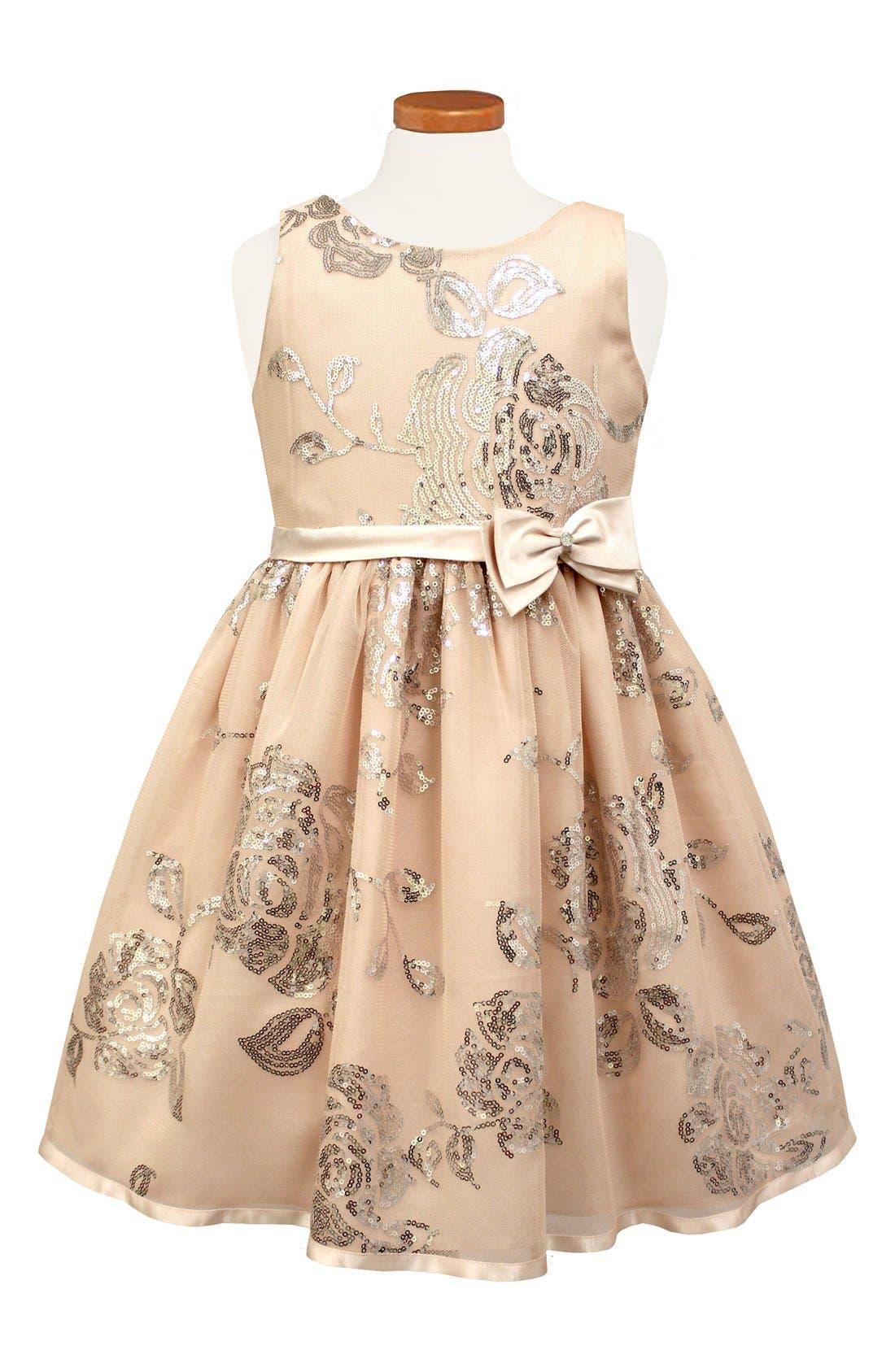 Sequin Floral Fit & Flare Dress,                             Main thumbnail 1, color,