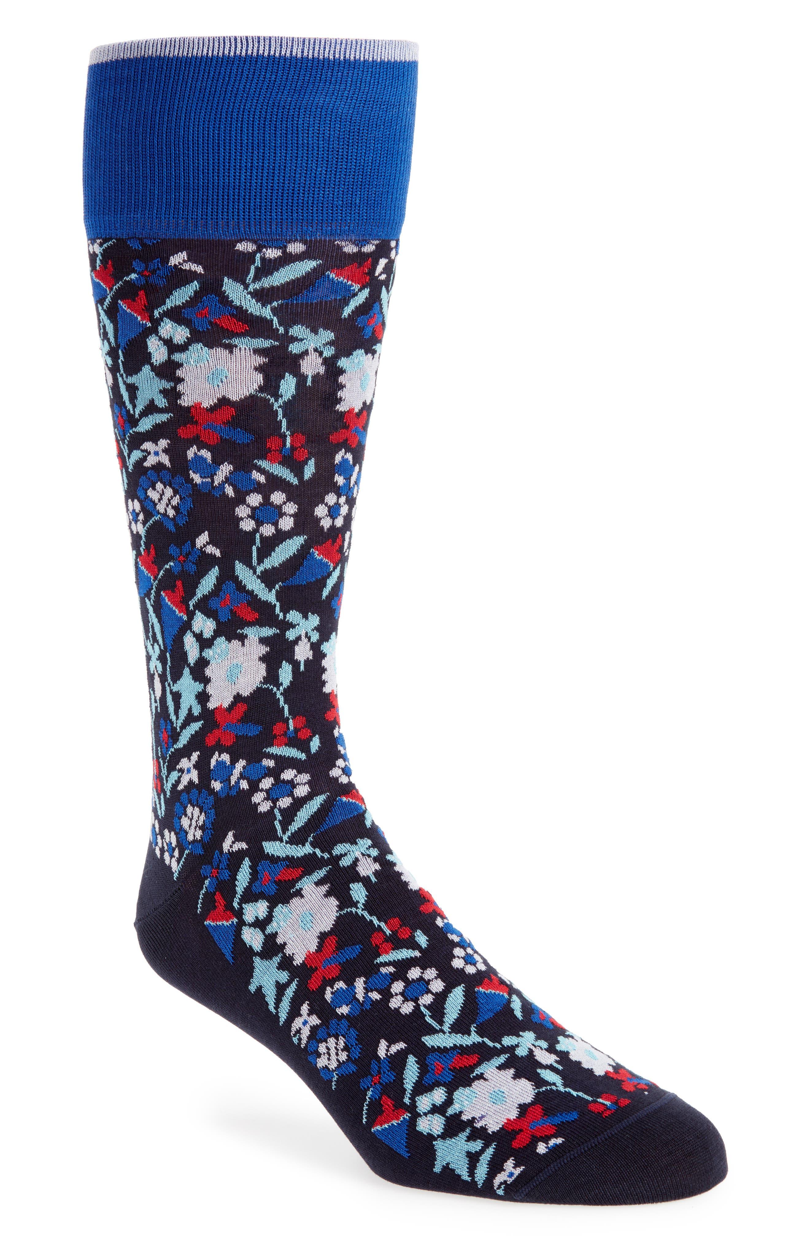 Tapestry Floral Socks,                             Main thumbnail 1, color,                             NAVY/ RED