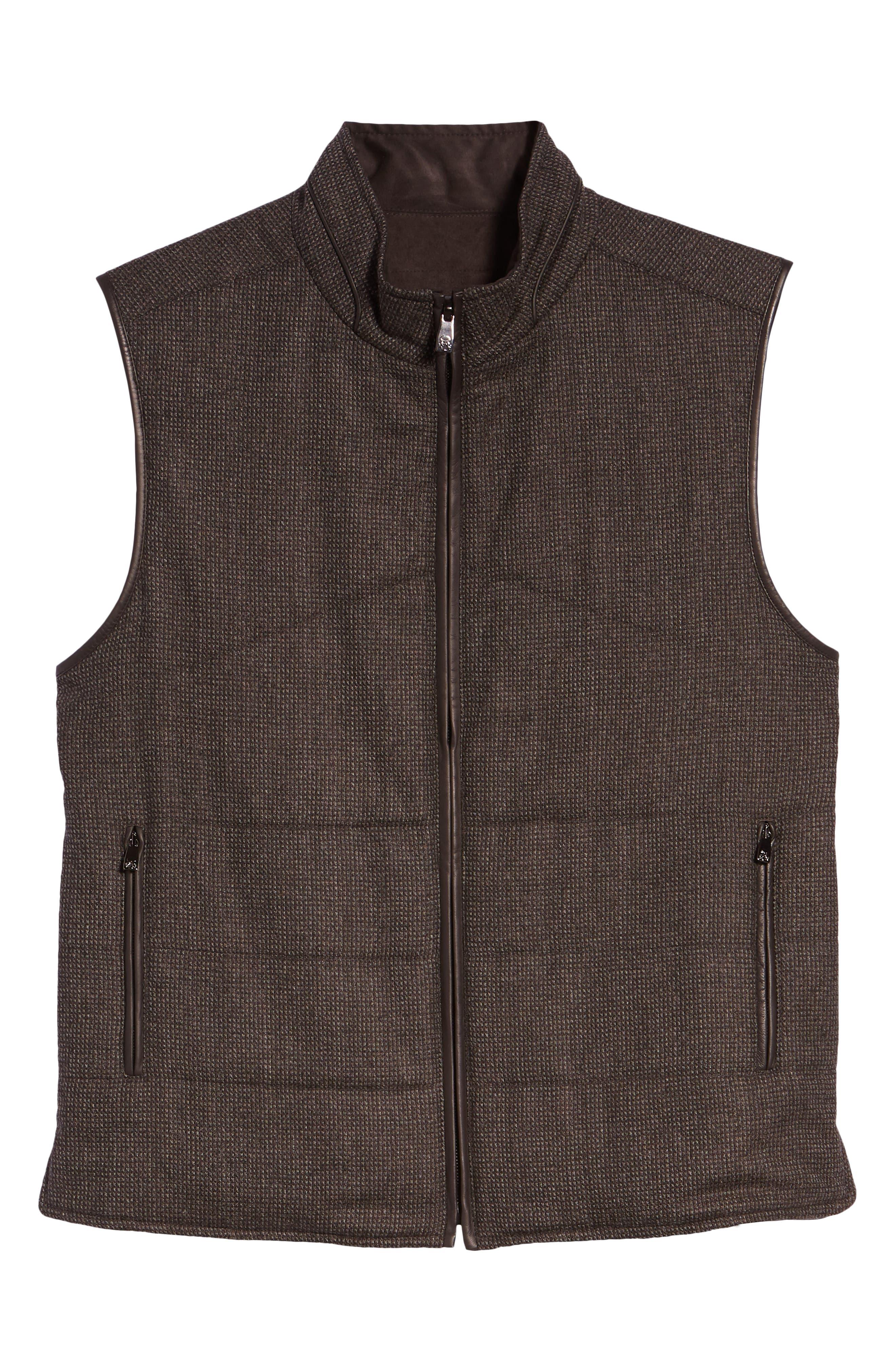 Classic Fit Reversible Vest,                             Alternate thumbnail 6, color,                             BROWN