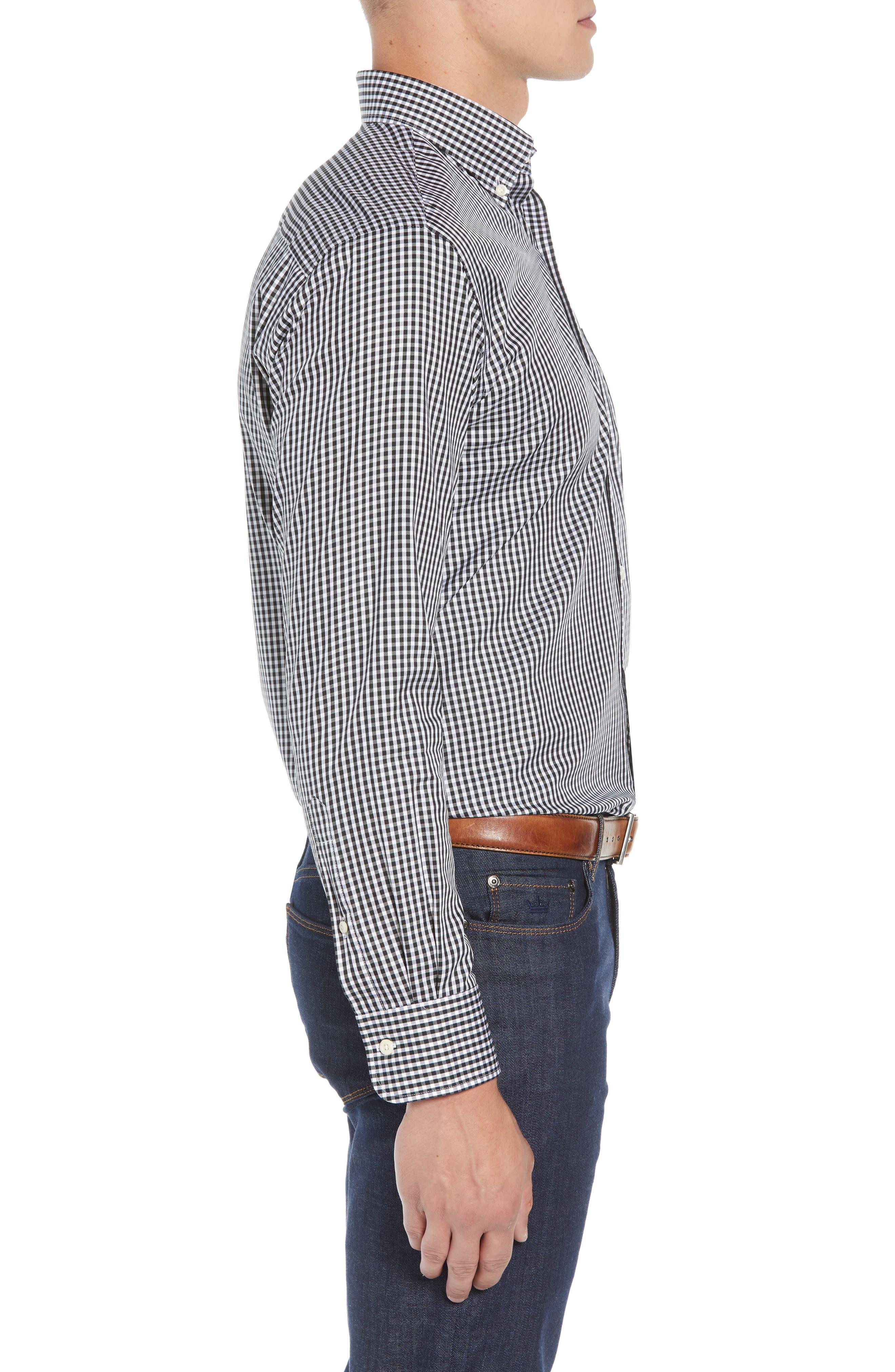 Crown Soft Gingham Regular Fit Sport Shirt,                             Alternate thumbnail 4, color,                             BLACK