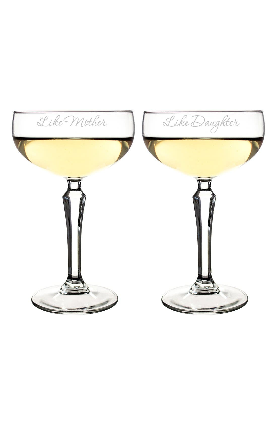 'Mother Daughter' Etched Champagne Coupe Toasting Glasses,                             Alternate thumbnail 4, color,                             100
