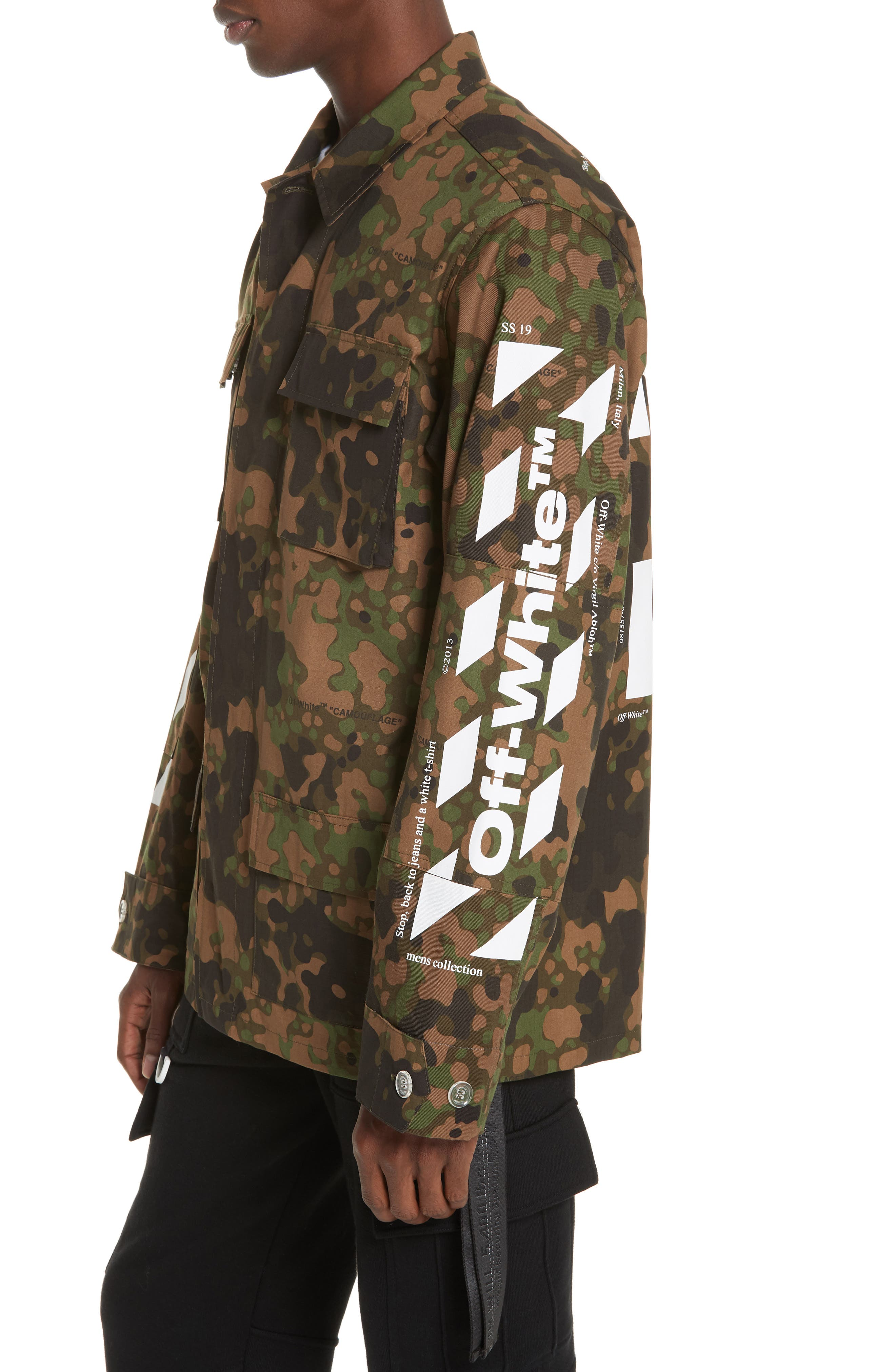 OFF-WHITE,                             Camo Field Jacket,                             Alternate thumbnail 4, color,                             CAMOU WHITE