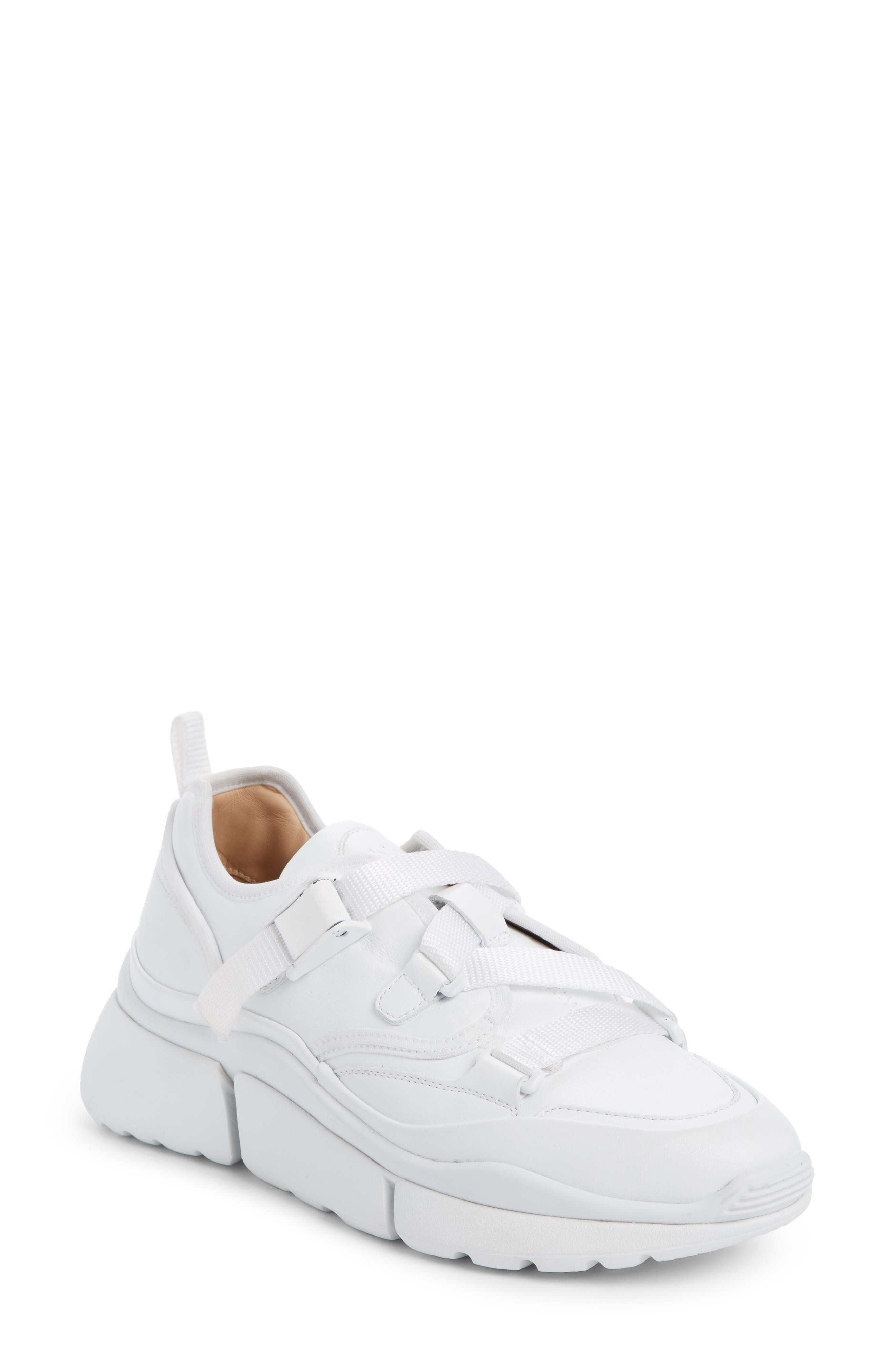 Sonnie Sneaker,                             Main thumbnail 1, color,                             WHITE LEATHER