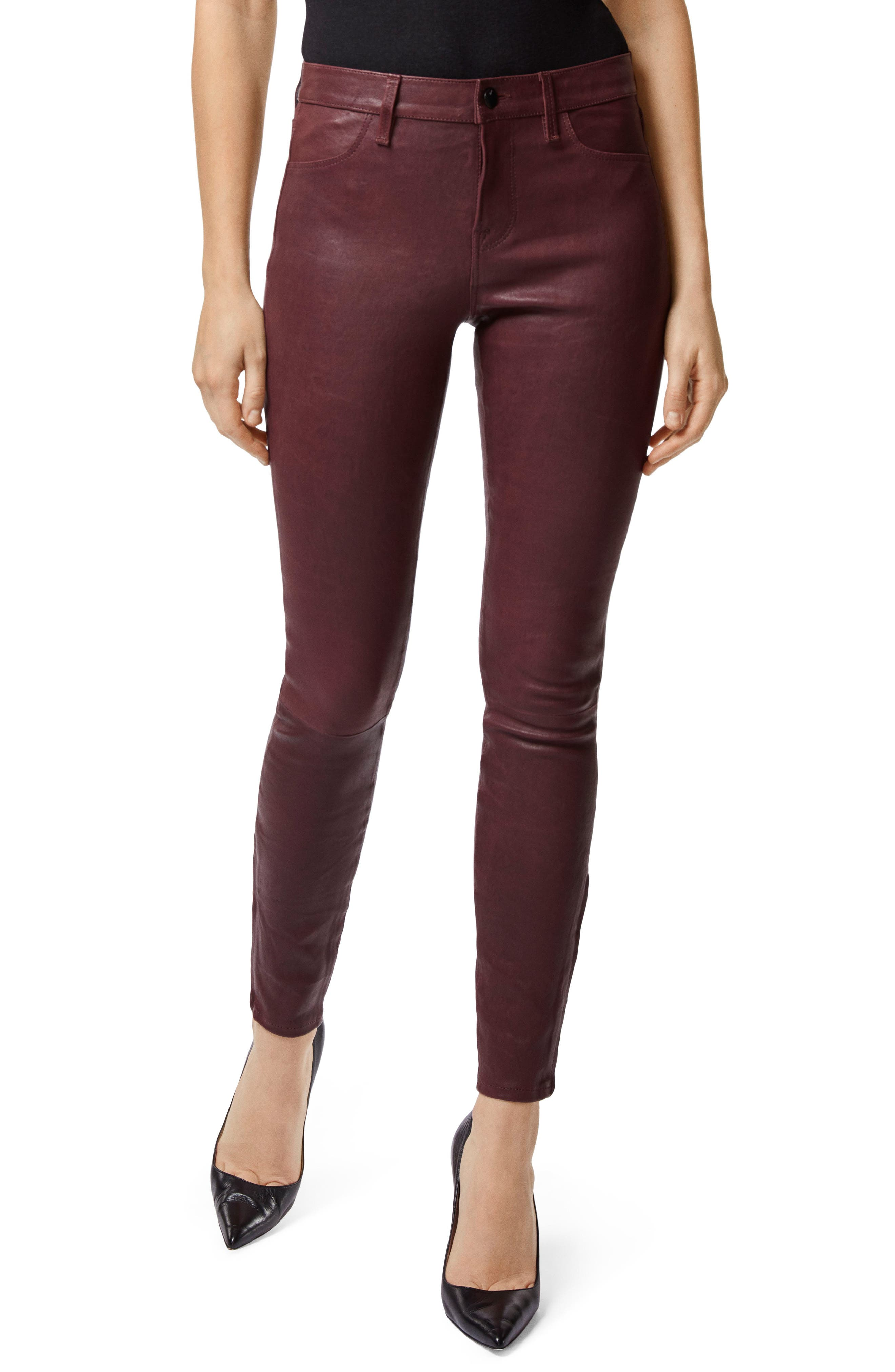 '8001' Lambskin Leather Pants,                         Main,                         color, 510