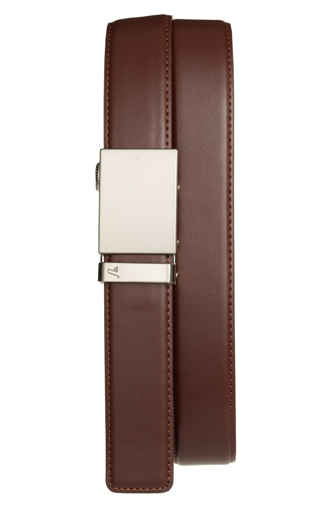 'Steel' Leather Belt,                         Main,                         color, STEEL/ CHOCOLATE