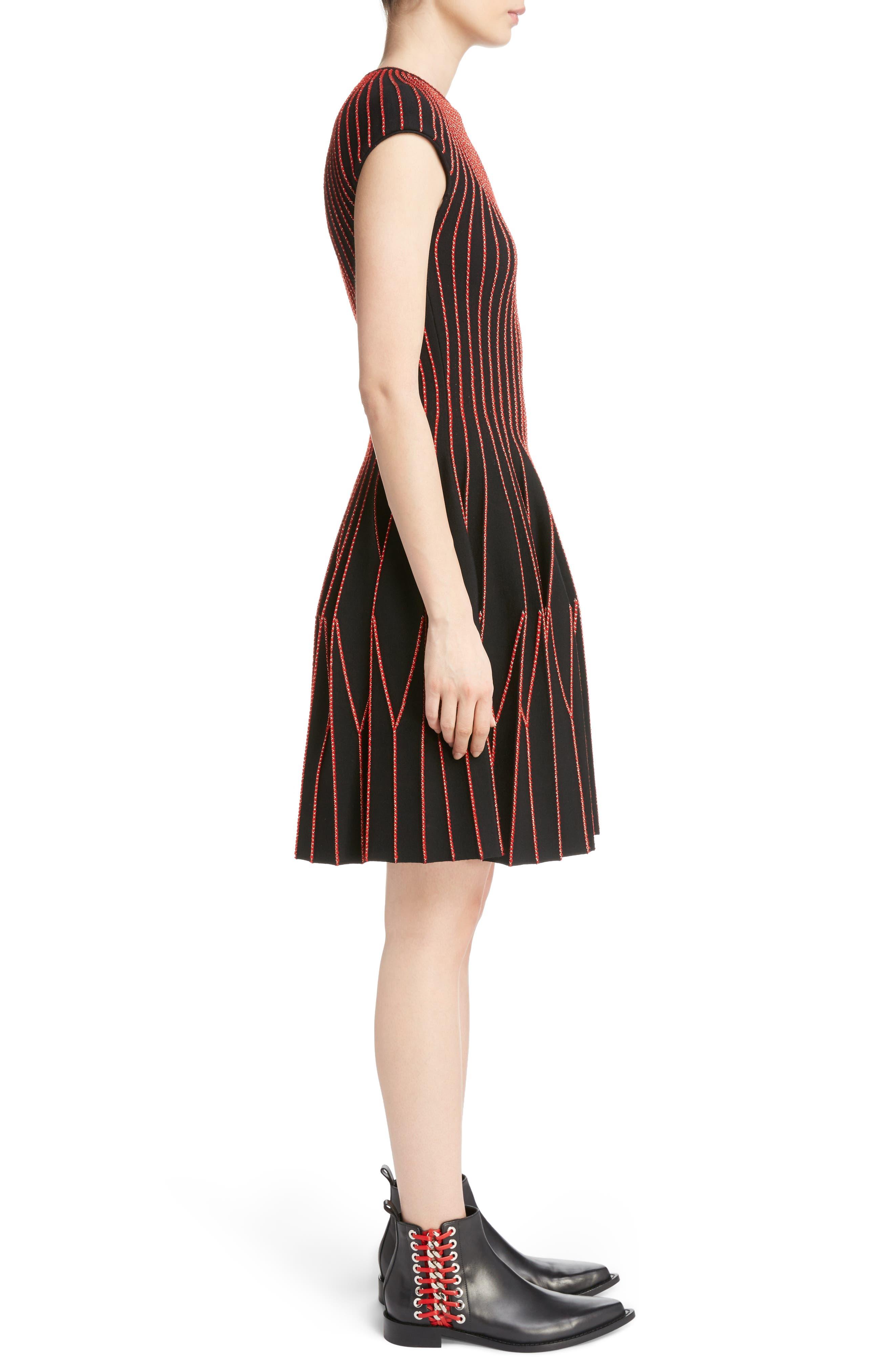 Metallic Wool Blend Pleat Dress,                             Alternate thumbnail 3, color,                             002