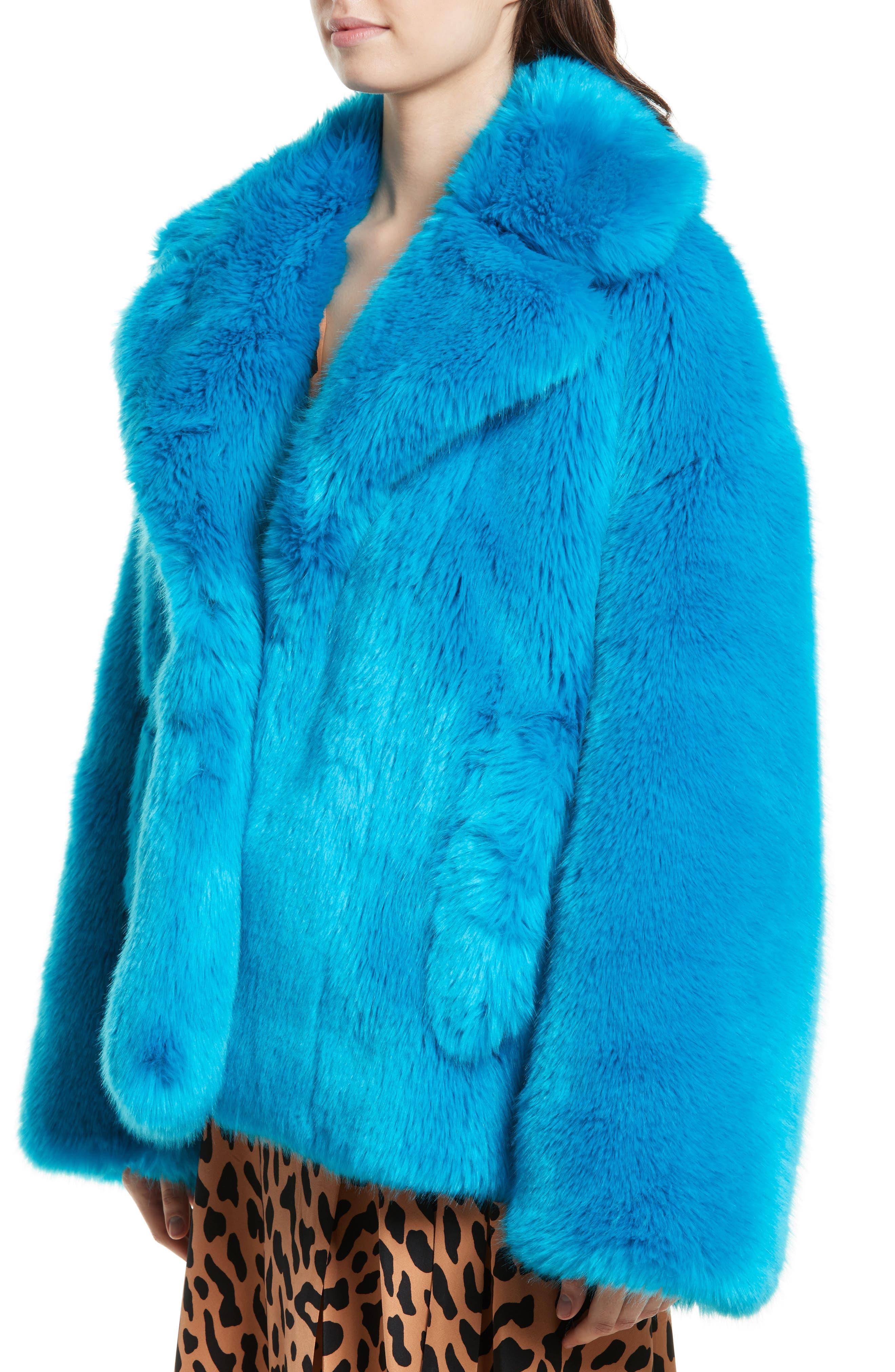 DIANE VON FURSTENBERG,                             Faux Fur Jacket,                             Alternate thumbnail 4, color,                             403