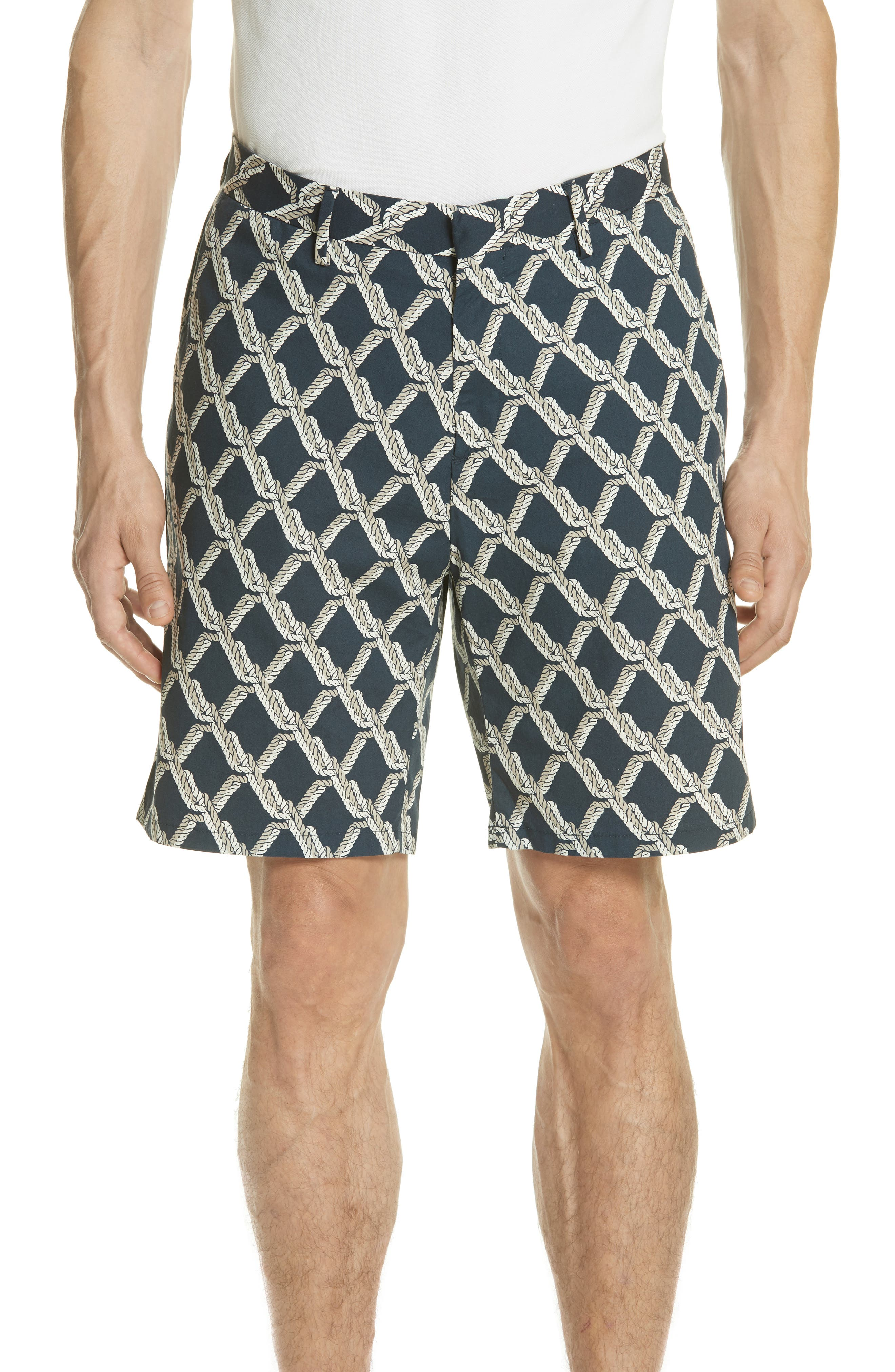 Rope Print Poplin Chino Shorts,                         Main,                         color, SQUID INK / CANVAS